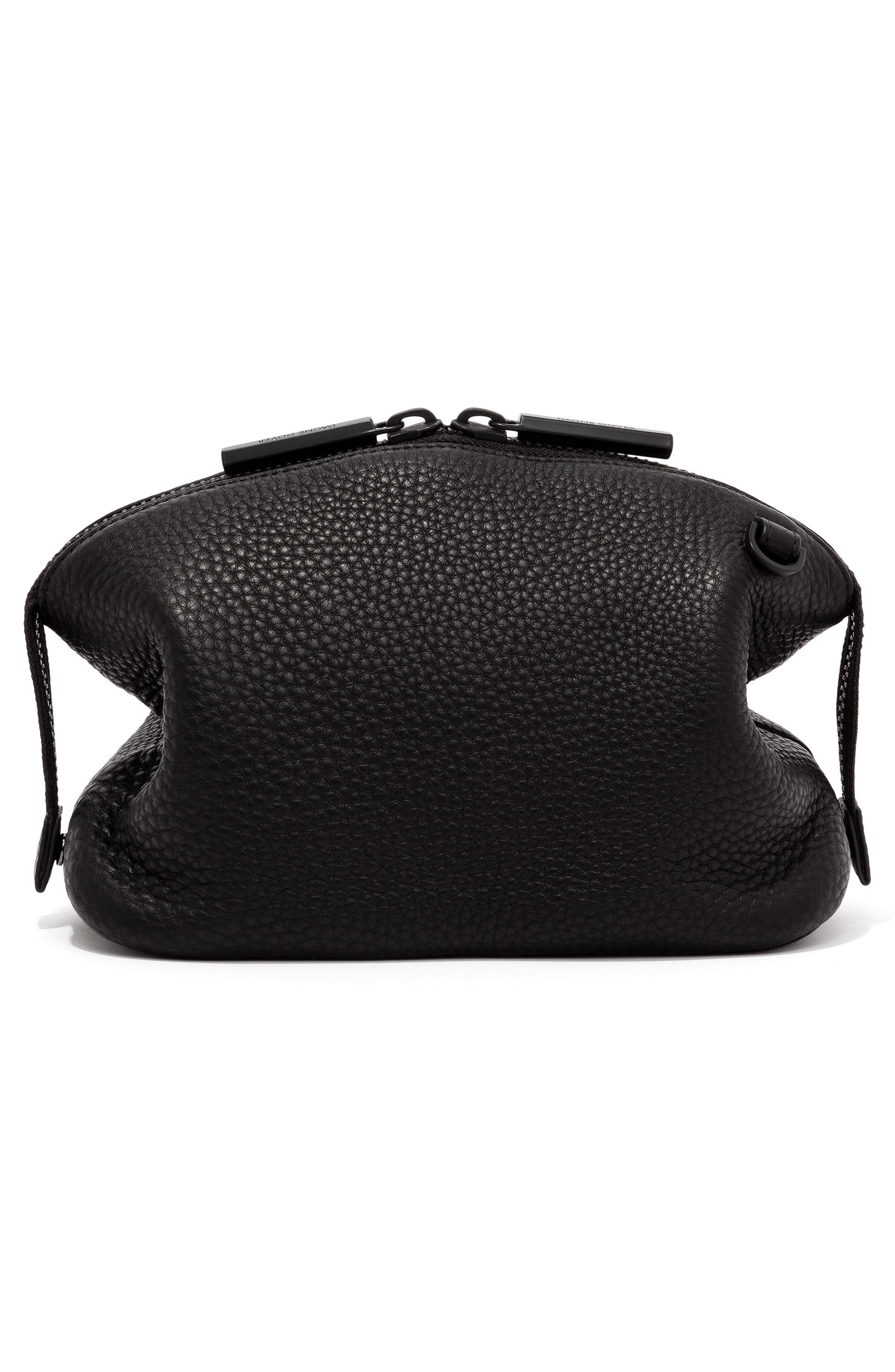 Large Lola Leather Cosmetics Pouch,                             Alternate thumbnail 3, color,                             Onyx