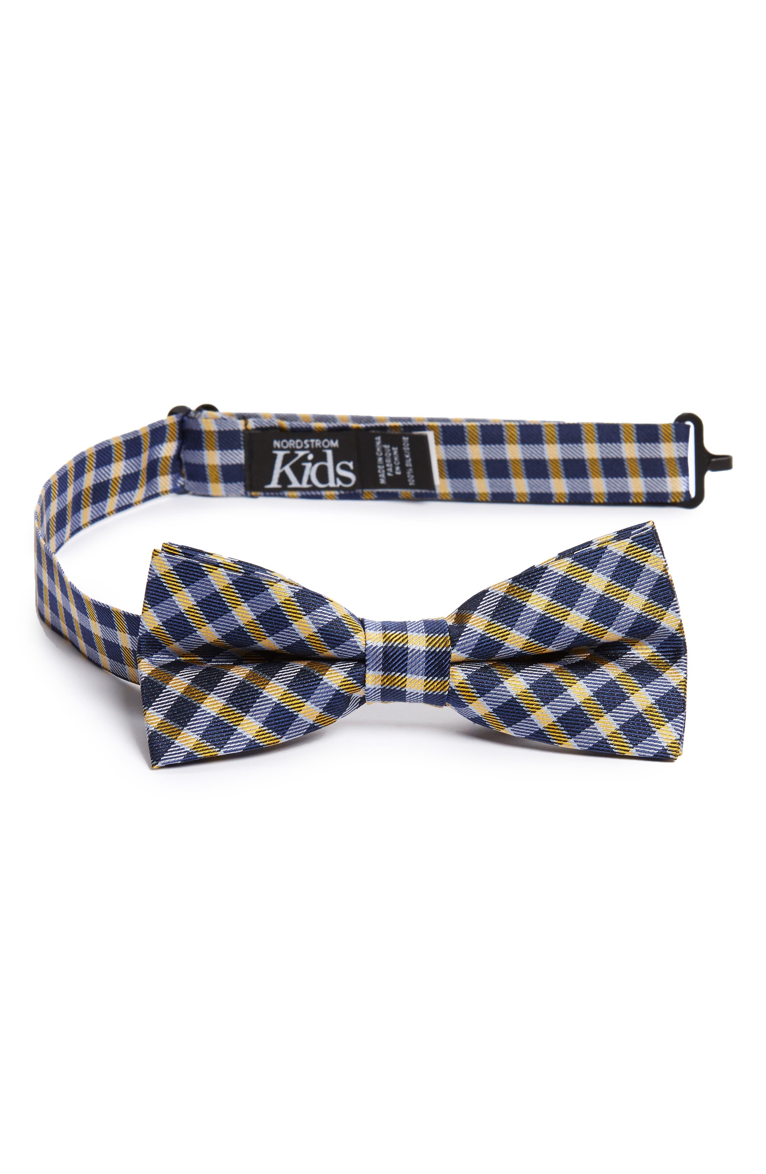 Plaid Wool & Silk Bow Tie,                         Main,                         color, Orange