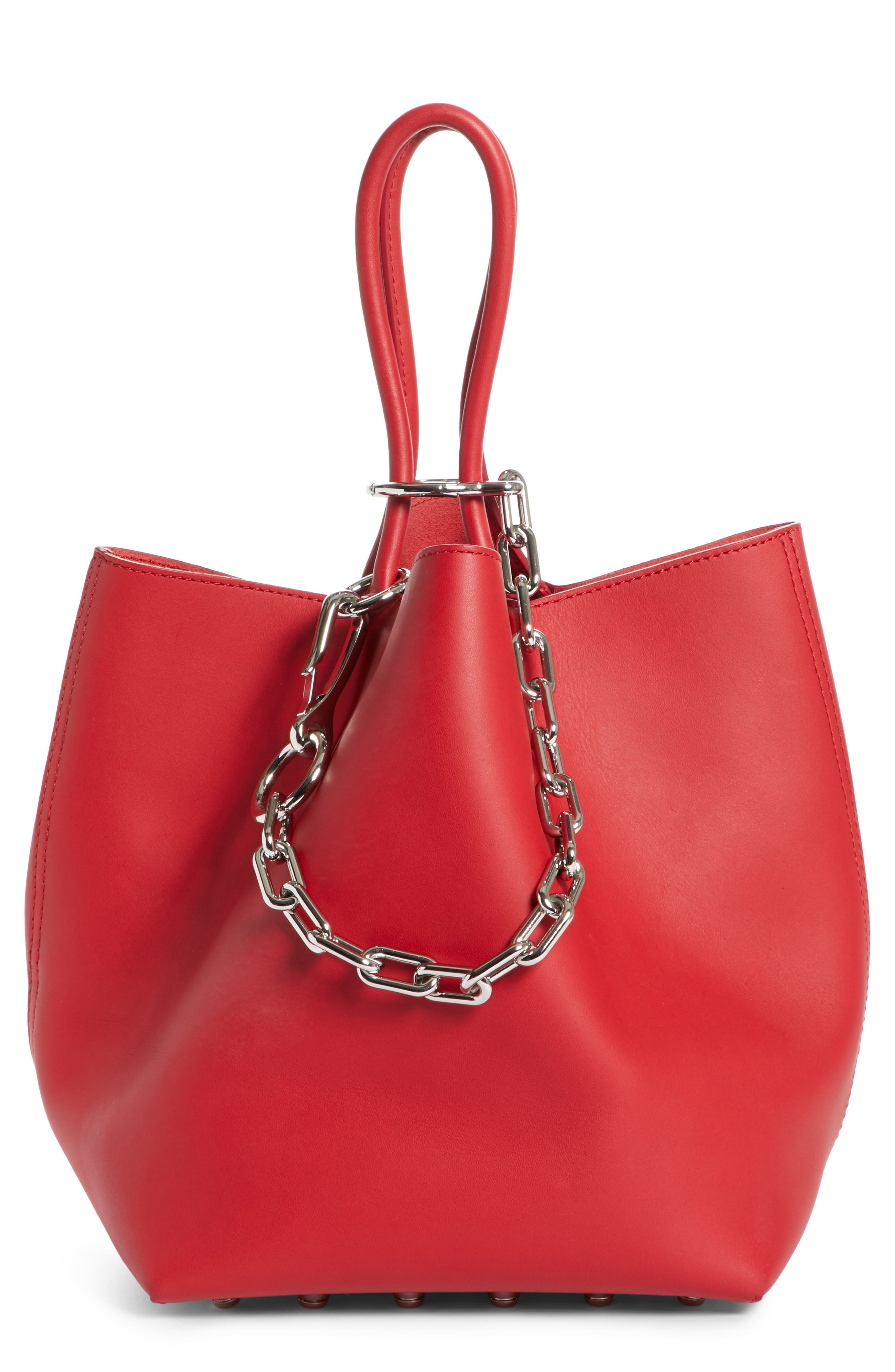 Small Roxy Leather Bucket Bag,                             Main thumbnail 1, color,                             Lipstick