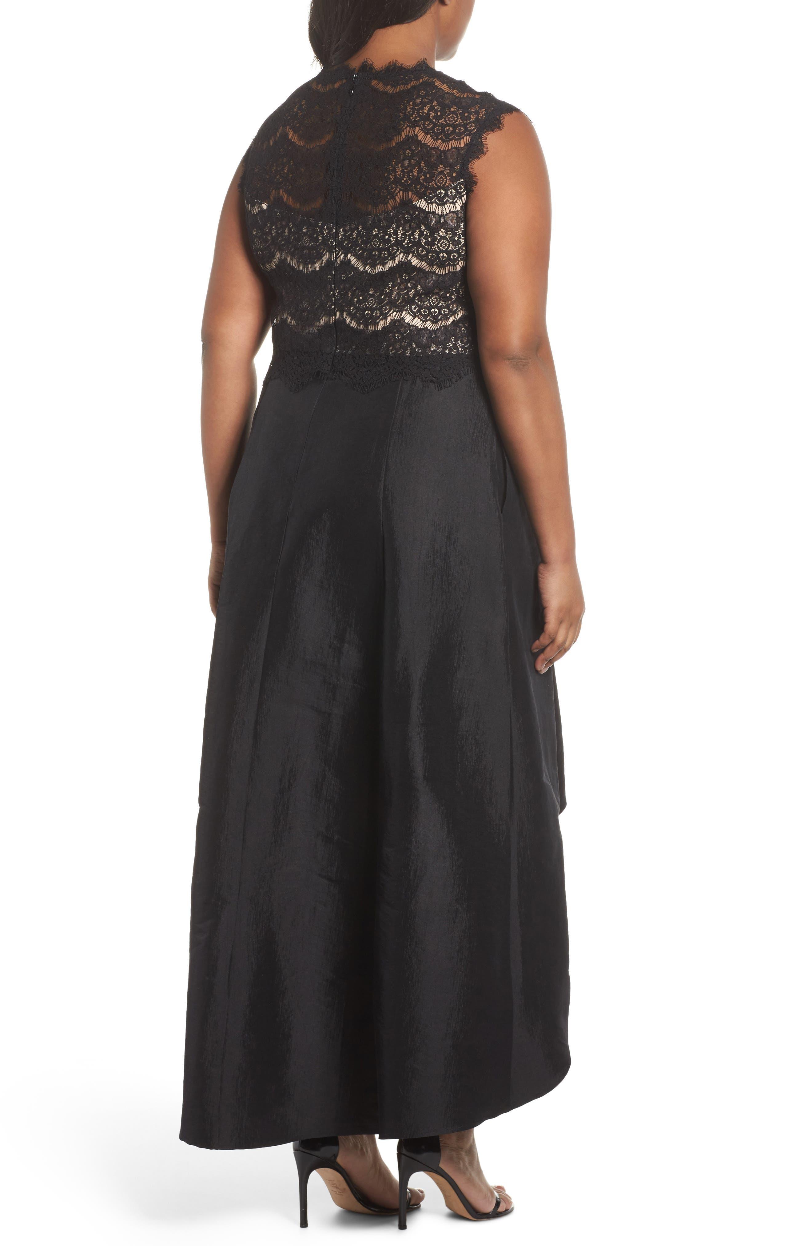 Lace & Taffeta Gown,                             Alternate thumbnail 2, color,                             Black