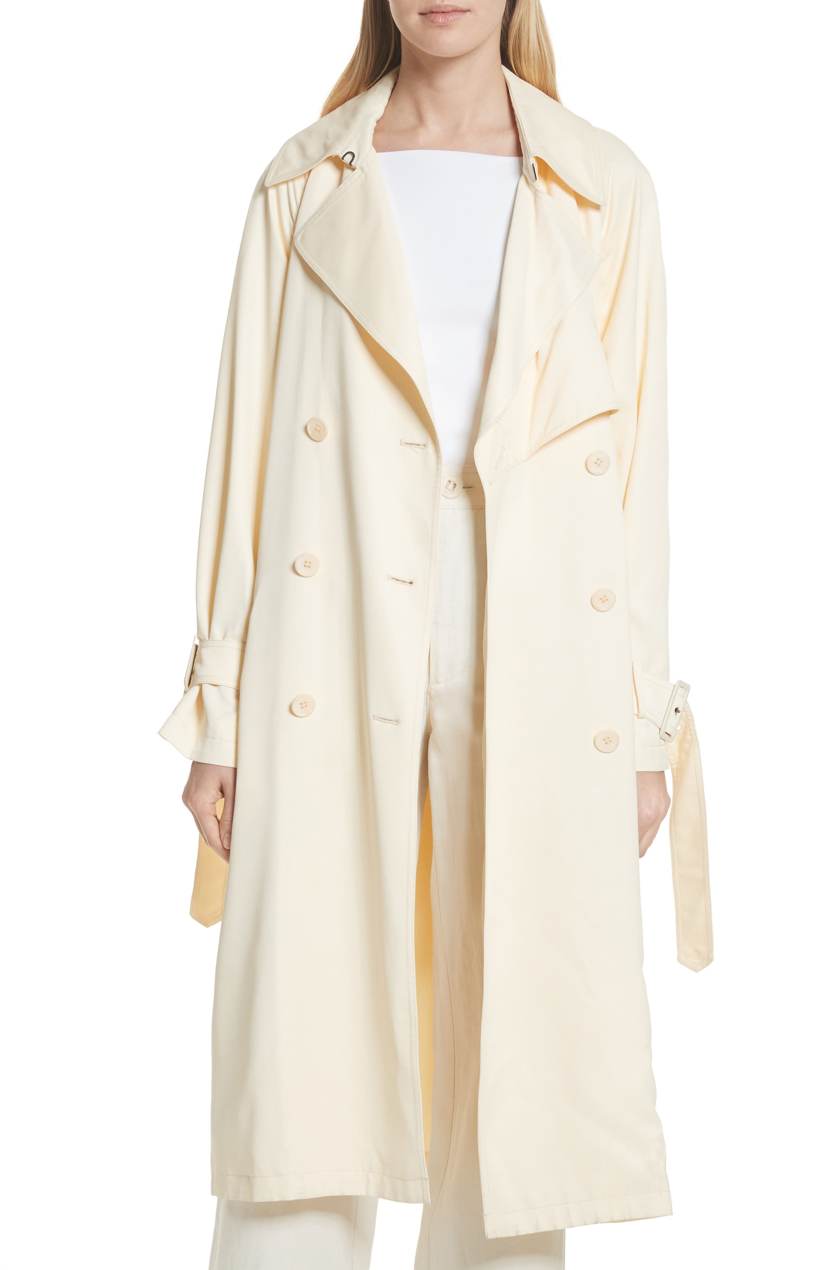 Drapey Trench Coat,                             Main thumbnail 1, color,                             Buttercream