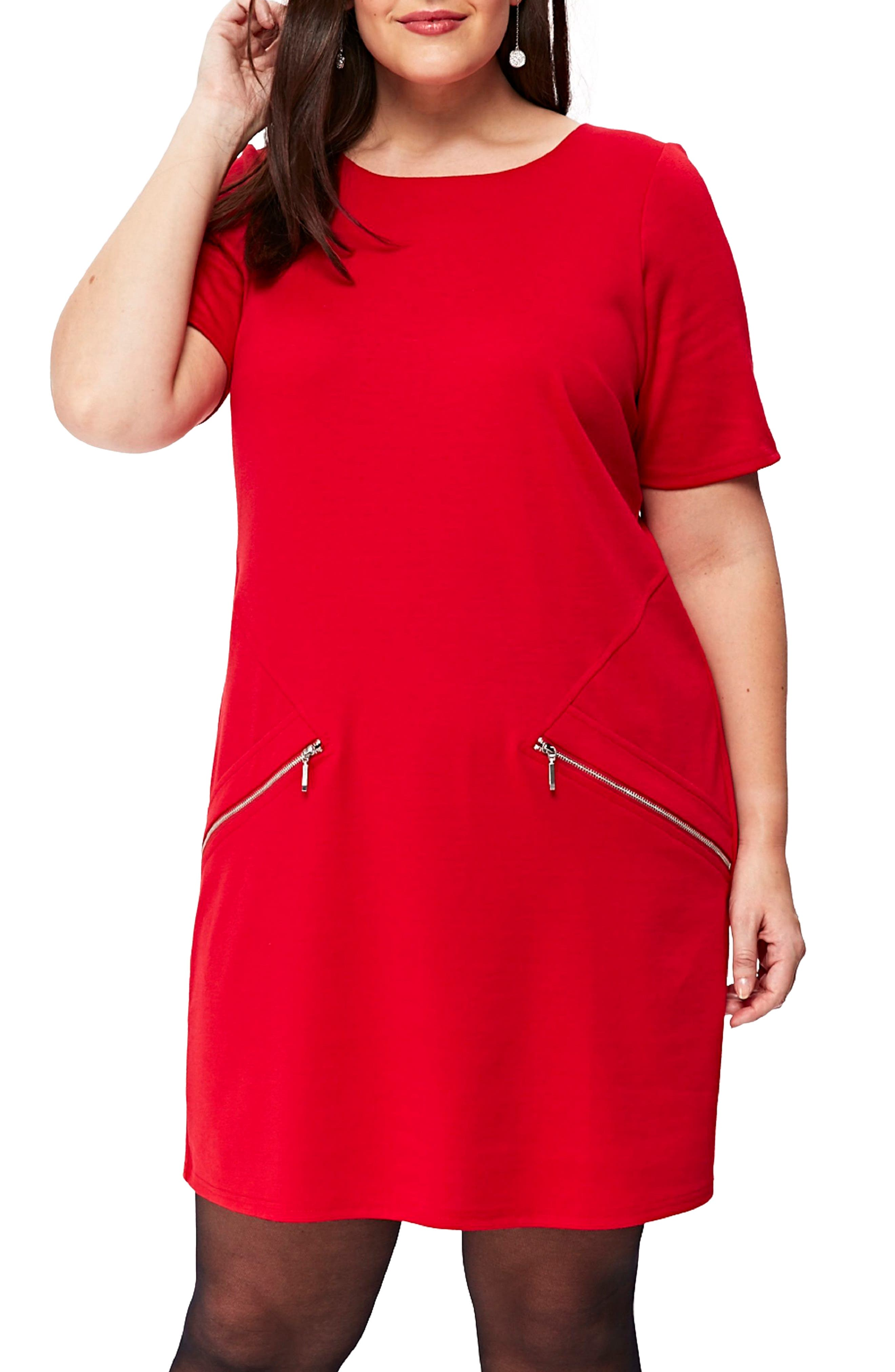 Ponte Knit Tunic Dress,                         Main,                         color, Red