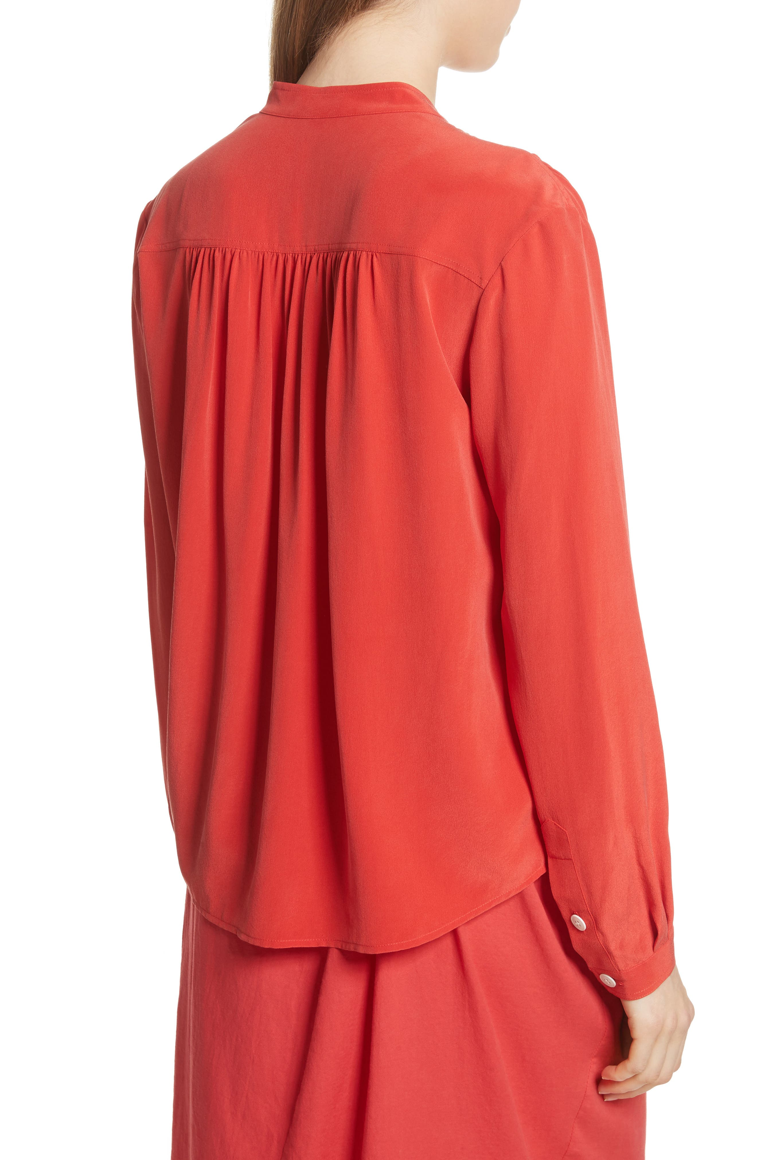 Utility Silk Blouse,                             Alternate thumbnail 2, color,                             Poppy