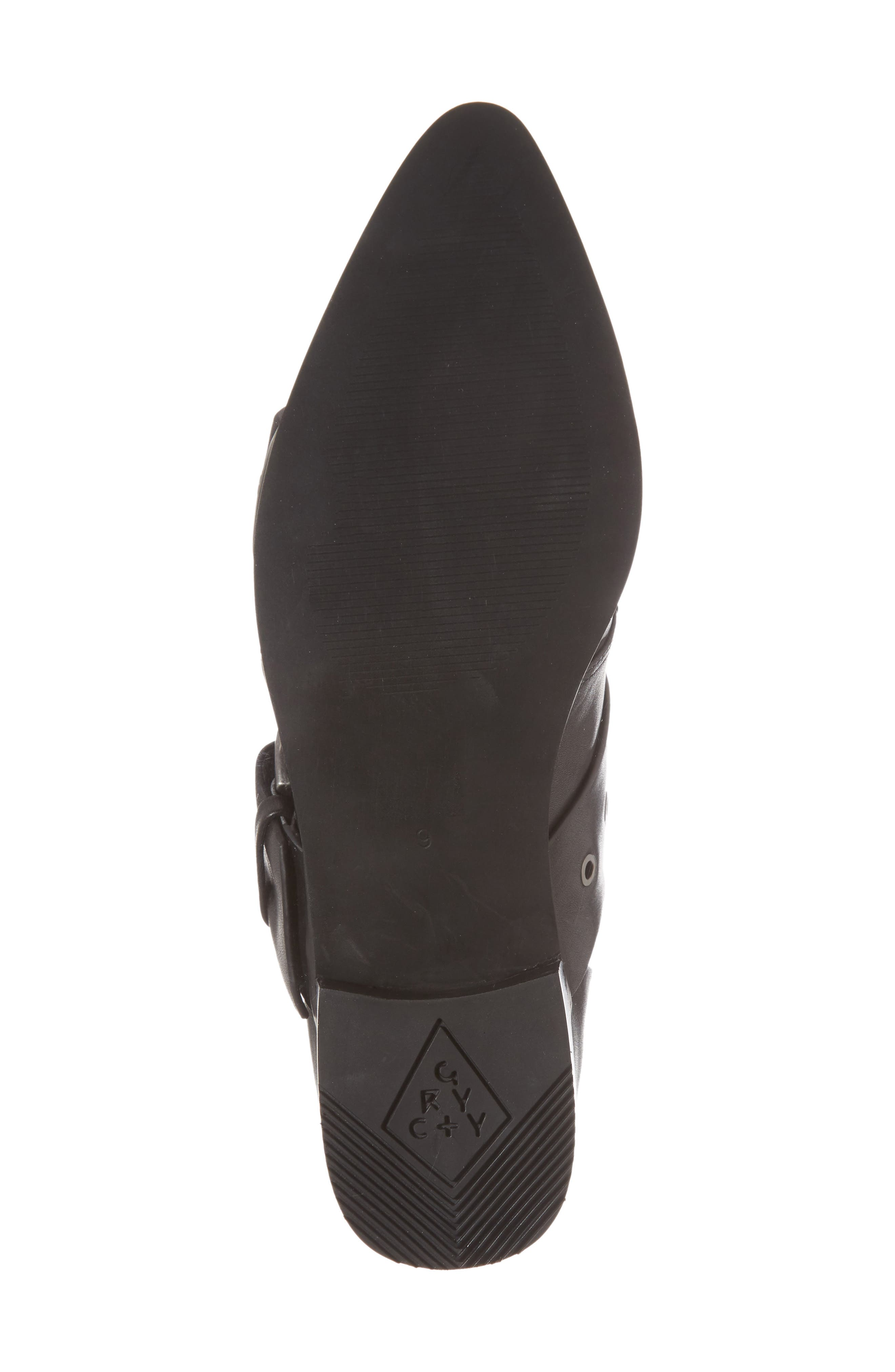 Buckle Strap Bootie,                             Alternate thumbnail 6, color,                             Black Leather
