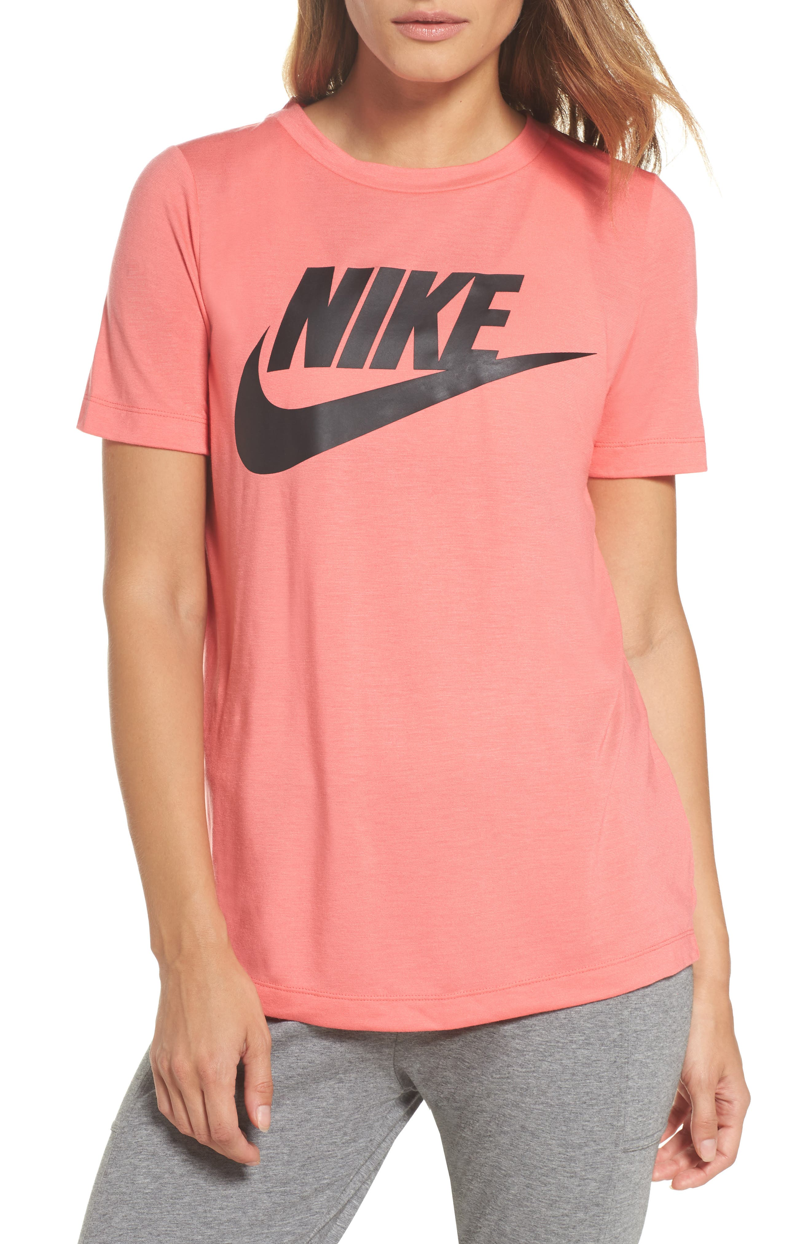 Sportswear Essential Tee,                             Main thumbnail 1, color,                             Sea Coral/ Sea Coral/ Black