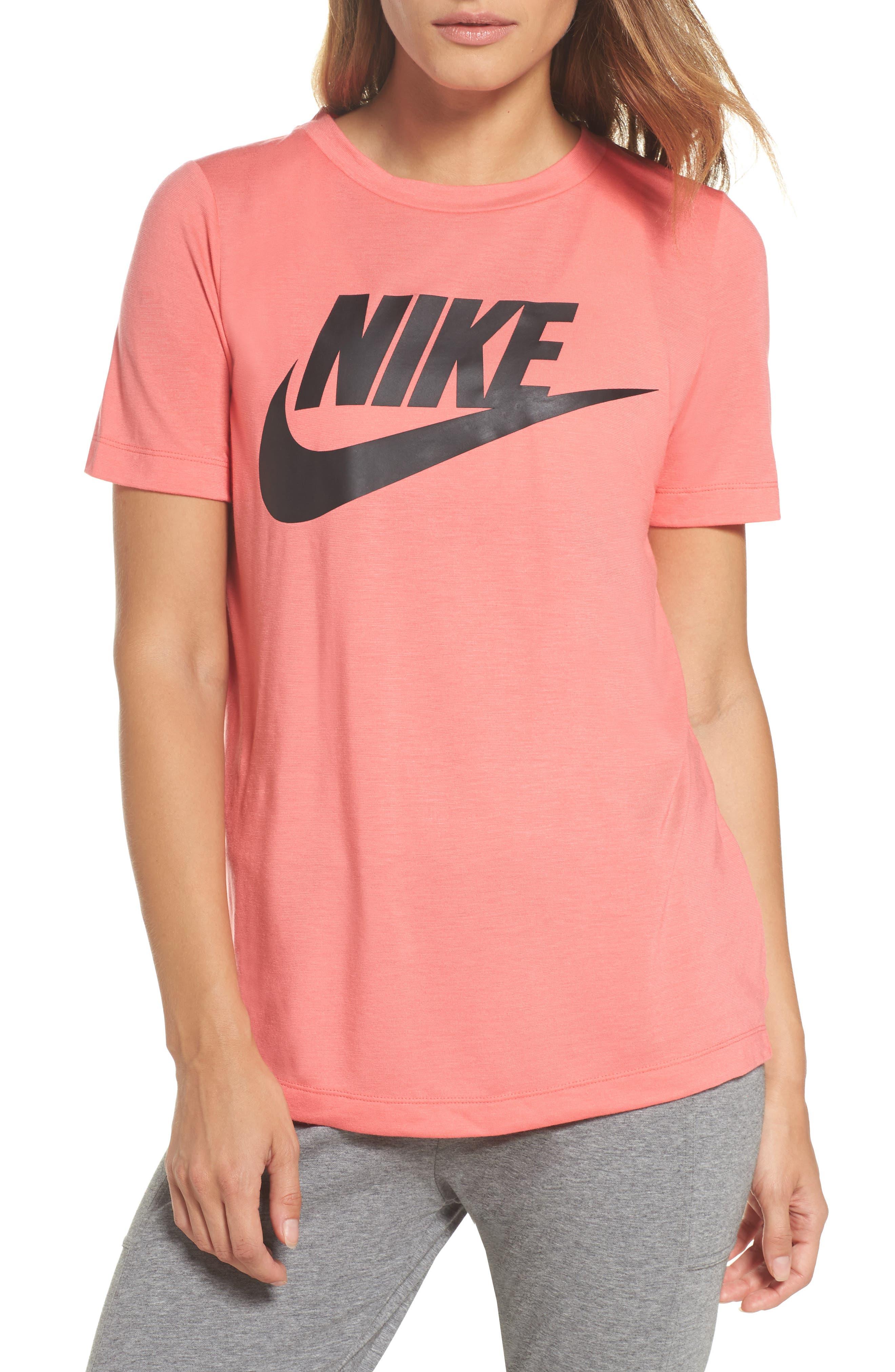 Sportswear Essential Tee,                         Main,                         color, Sea Coral/ Sea Coral/ Black