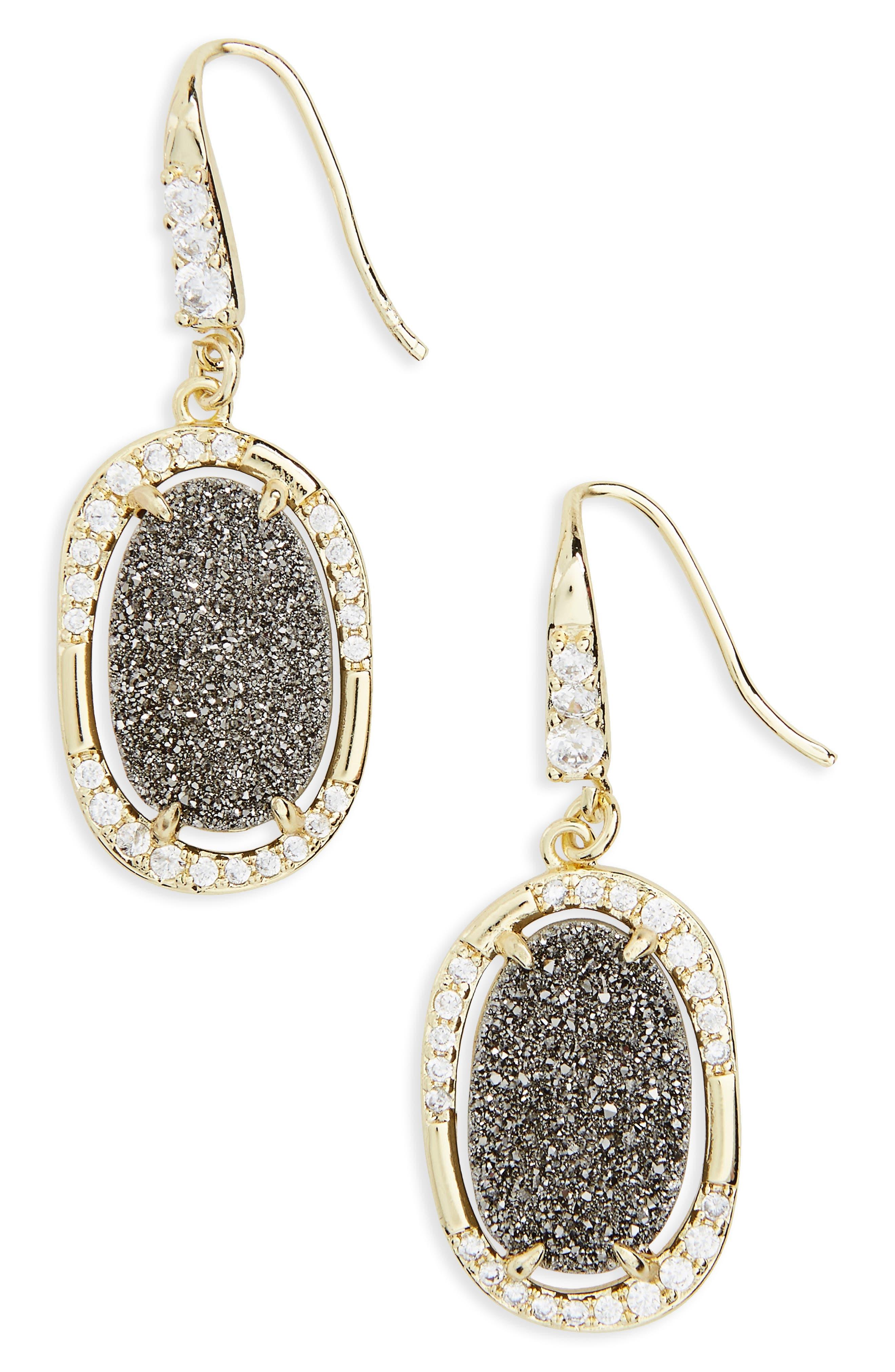 Kathy Drop Earrings,                             Main thumbnail 1, color,                             Grey Druzy/ Gold