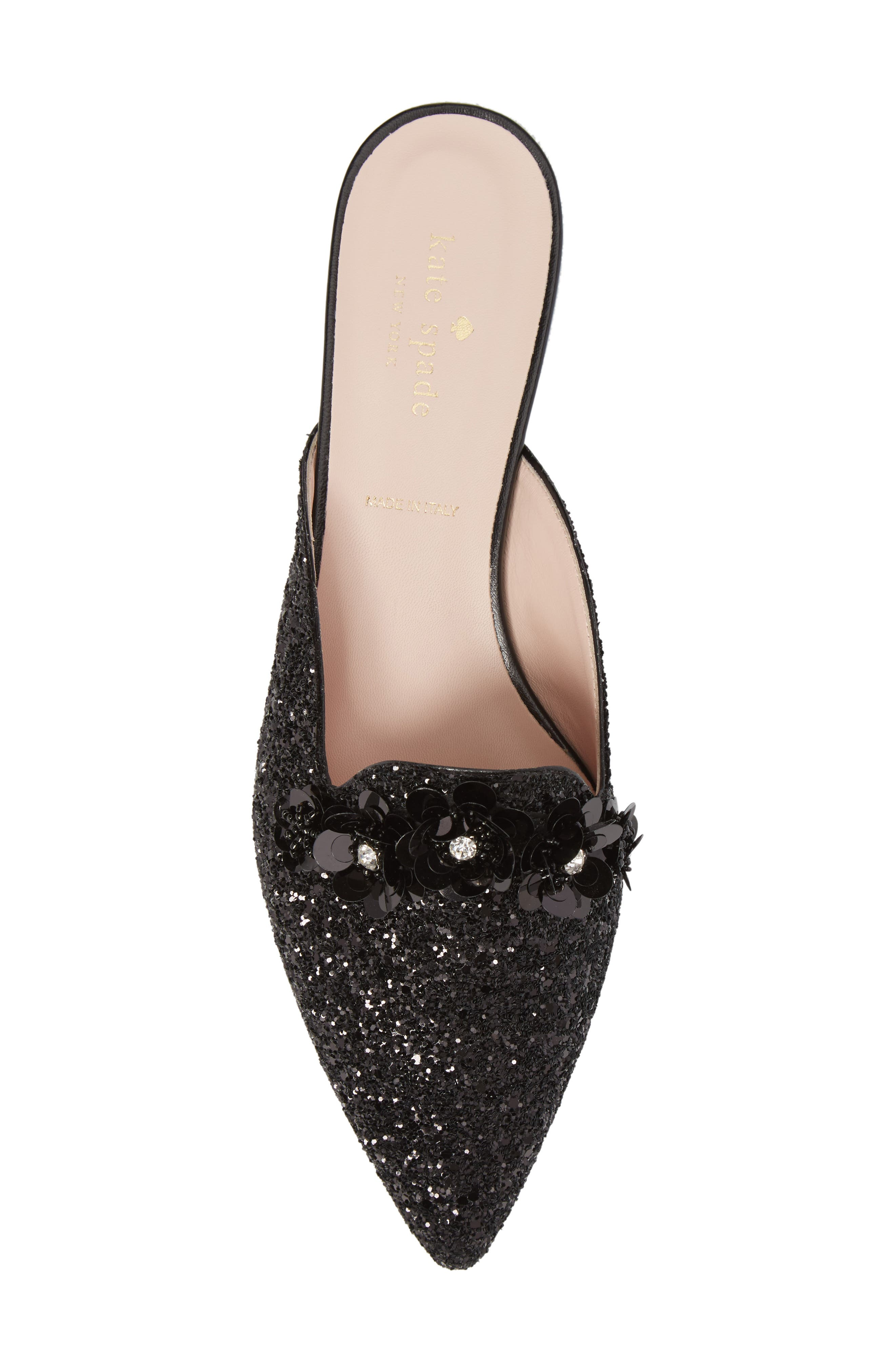 betty mule,                             Alternate thumbnail 5, color,                             Black Glitter