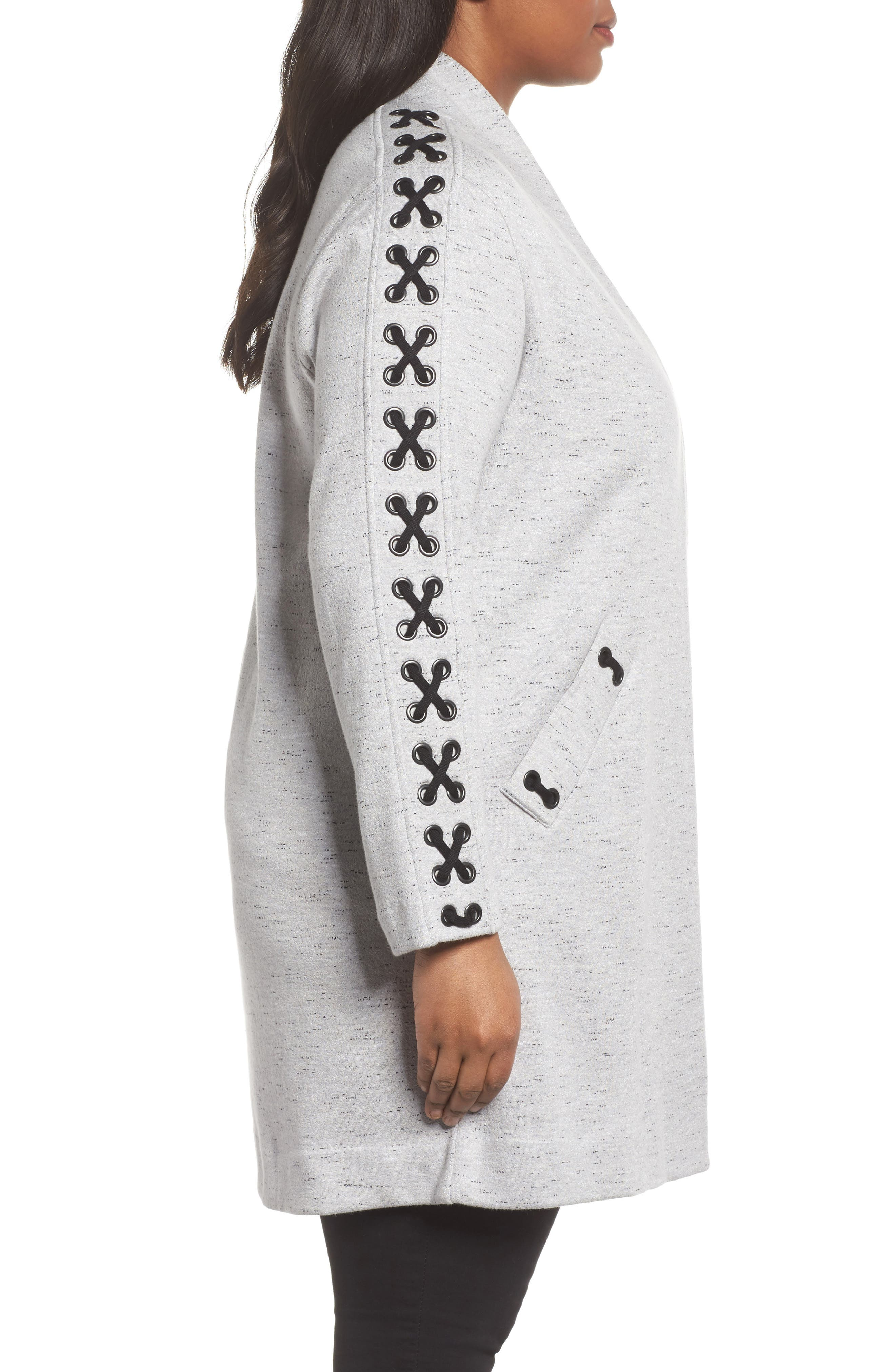 Crisscross Detail Knit Jacket,                             Alternate thumbnail 3, color,                             Granite