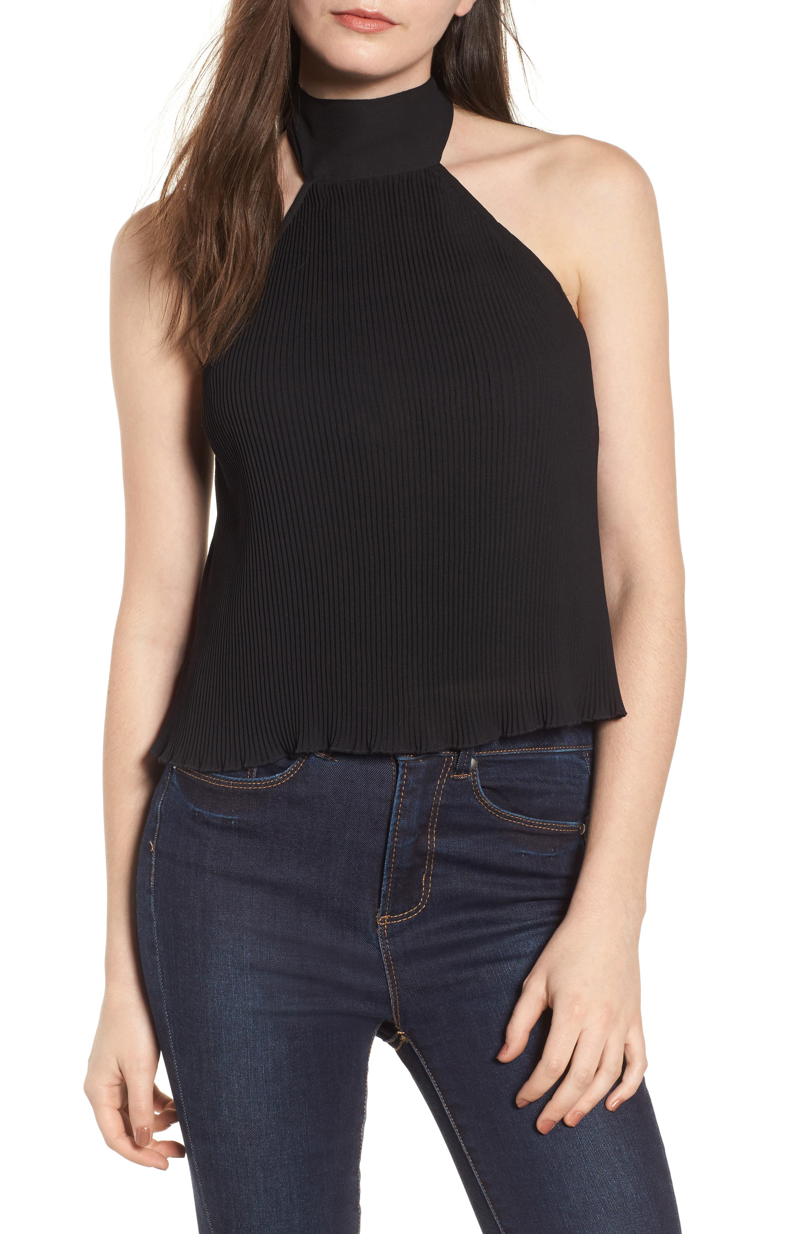 Pleated Halter Top,                         Main,                         color, Black