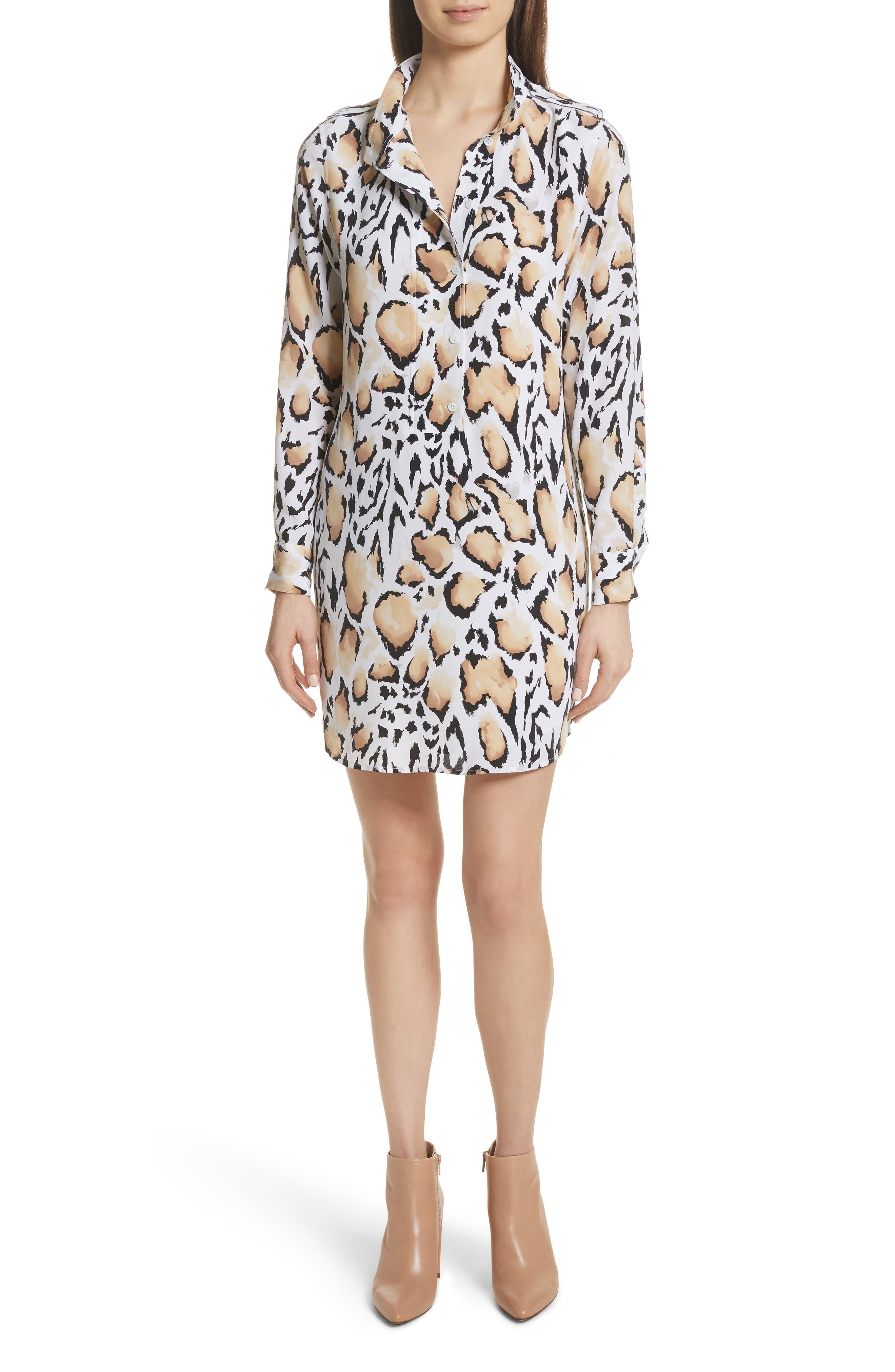 Freda Animal Print Silk Shirtdress,                         Main,                         color, Bright White Multi