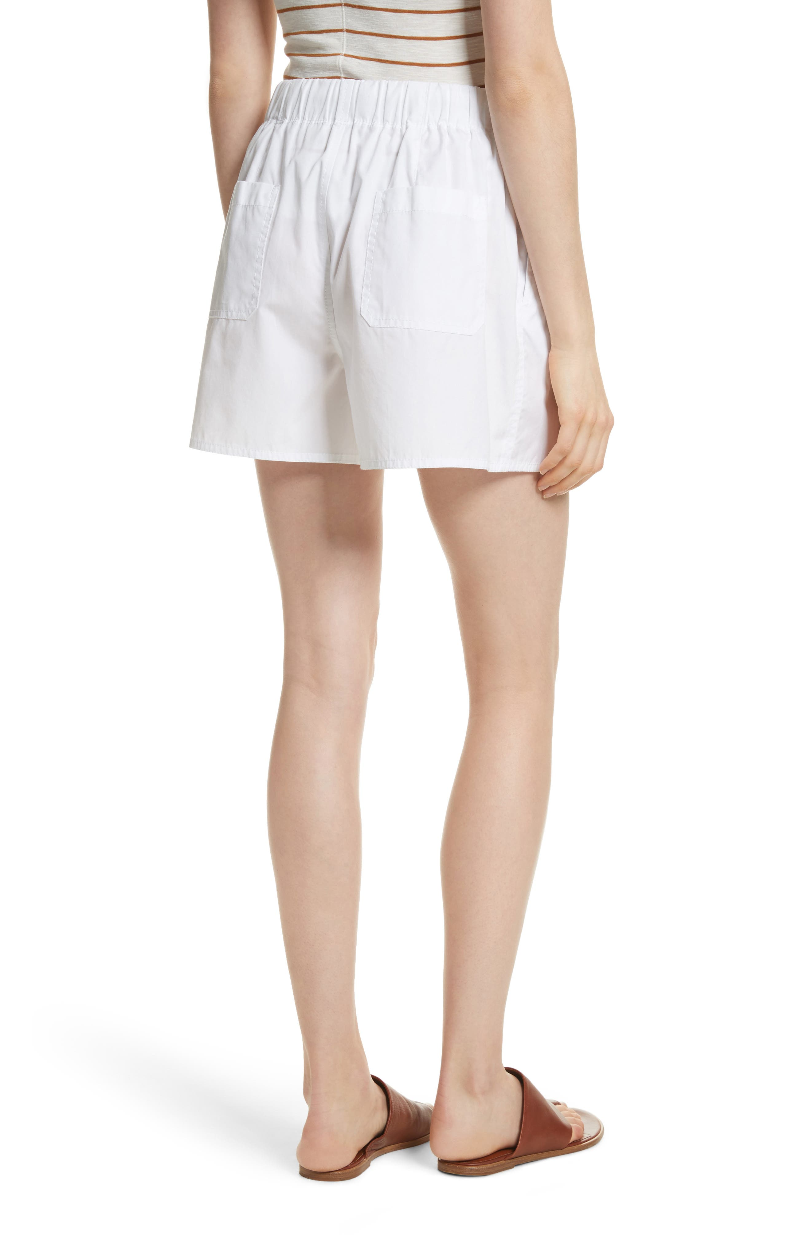 Drawstring Cotton Shorts,                             Alternate thumbnail 2, color,                             White