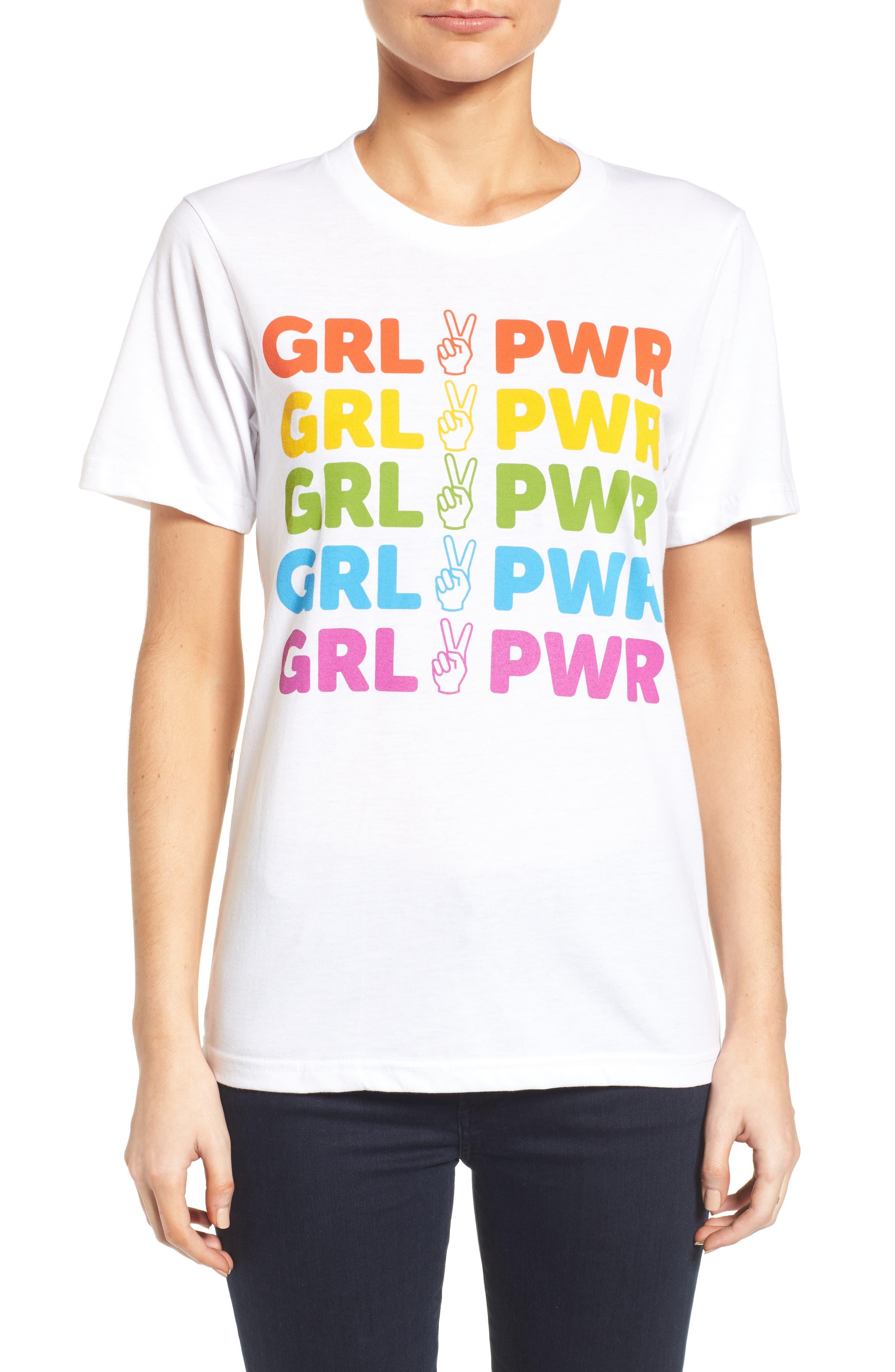 Girl Power Rainbow Tee,                             Main thumbnail 1, color,                             Multi