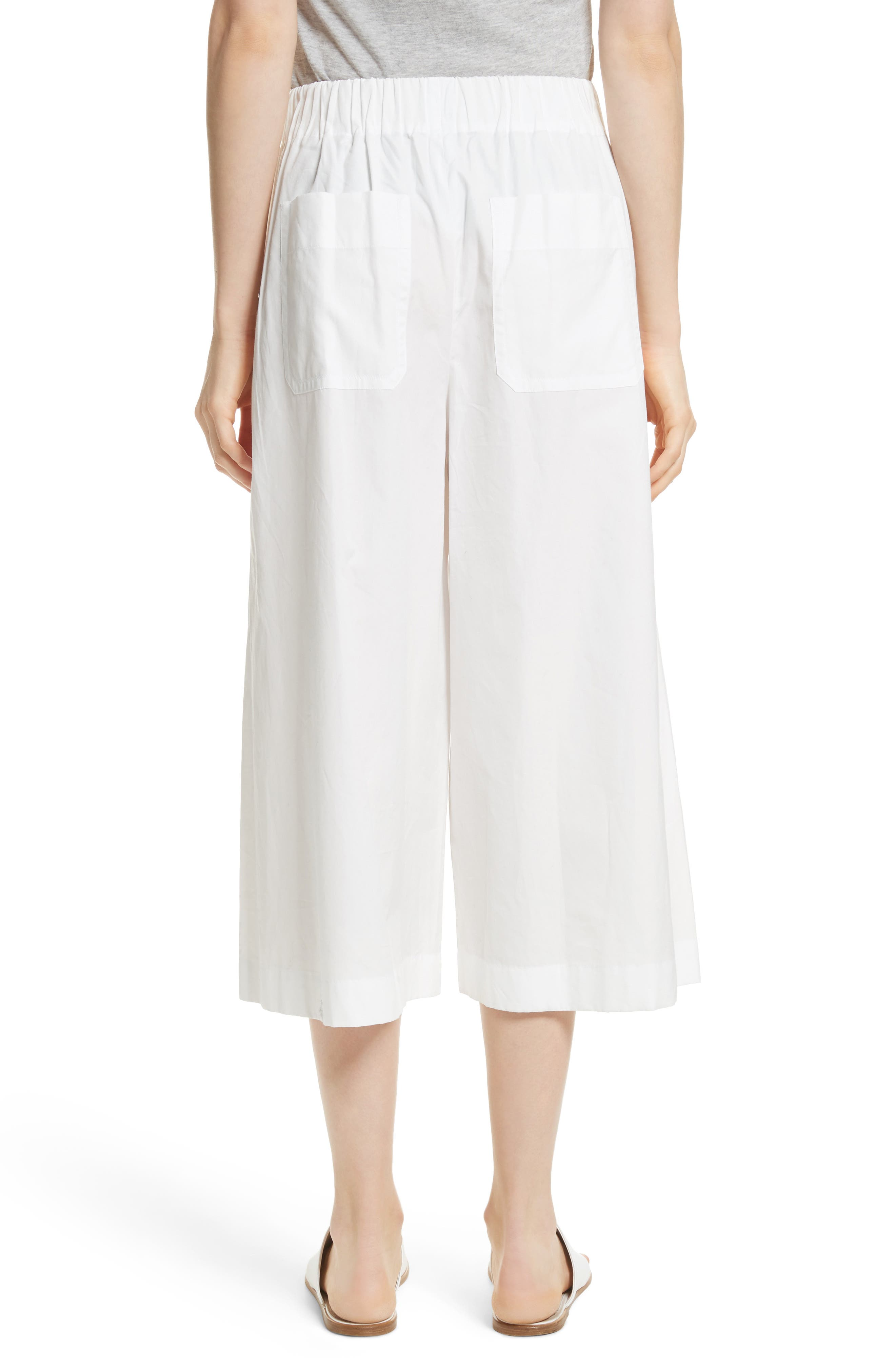 Side Slit Culottes,                             Alternate thumbnail 2, color,                             White