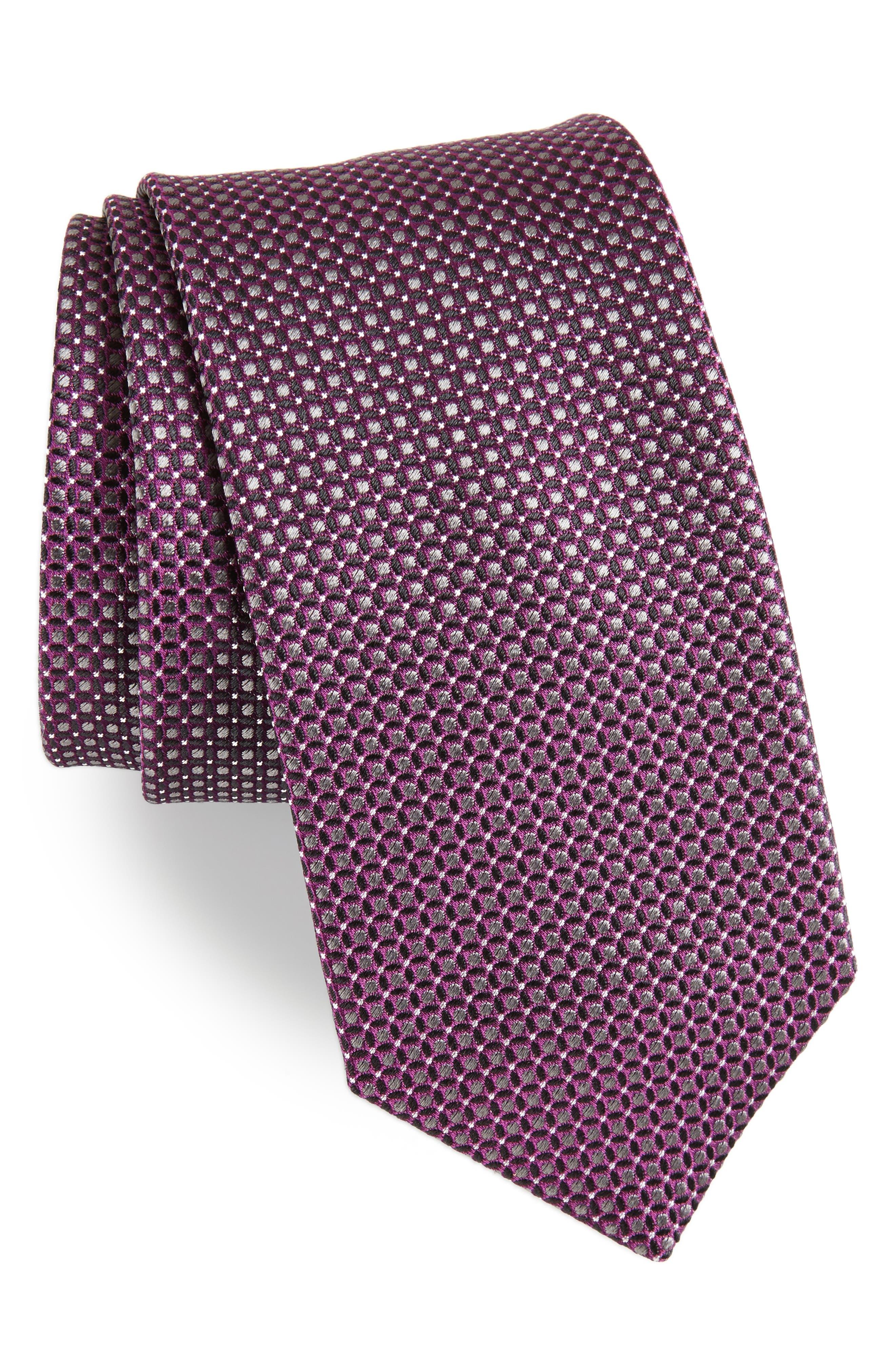 Geometric Neat Silk Tie,                         Main,                         color, Plum