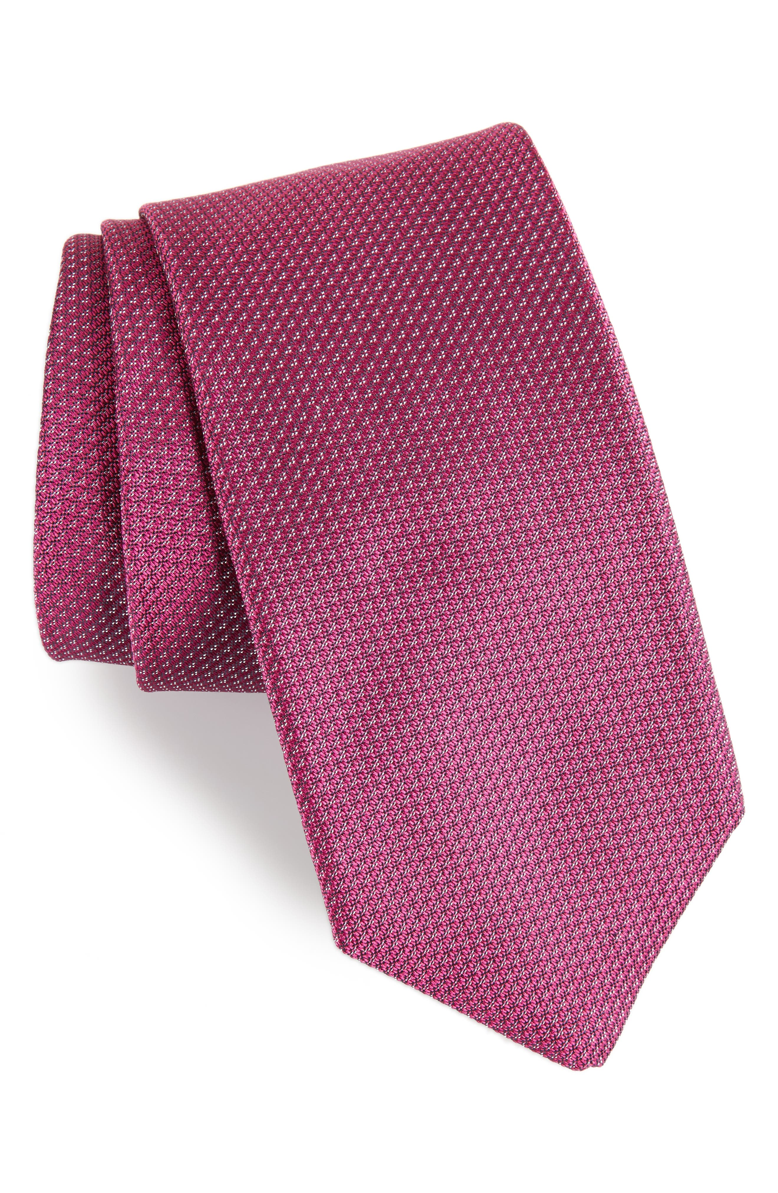 Textured Silk Tie,                         Main,                         color, Berry