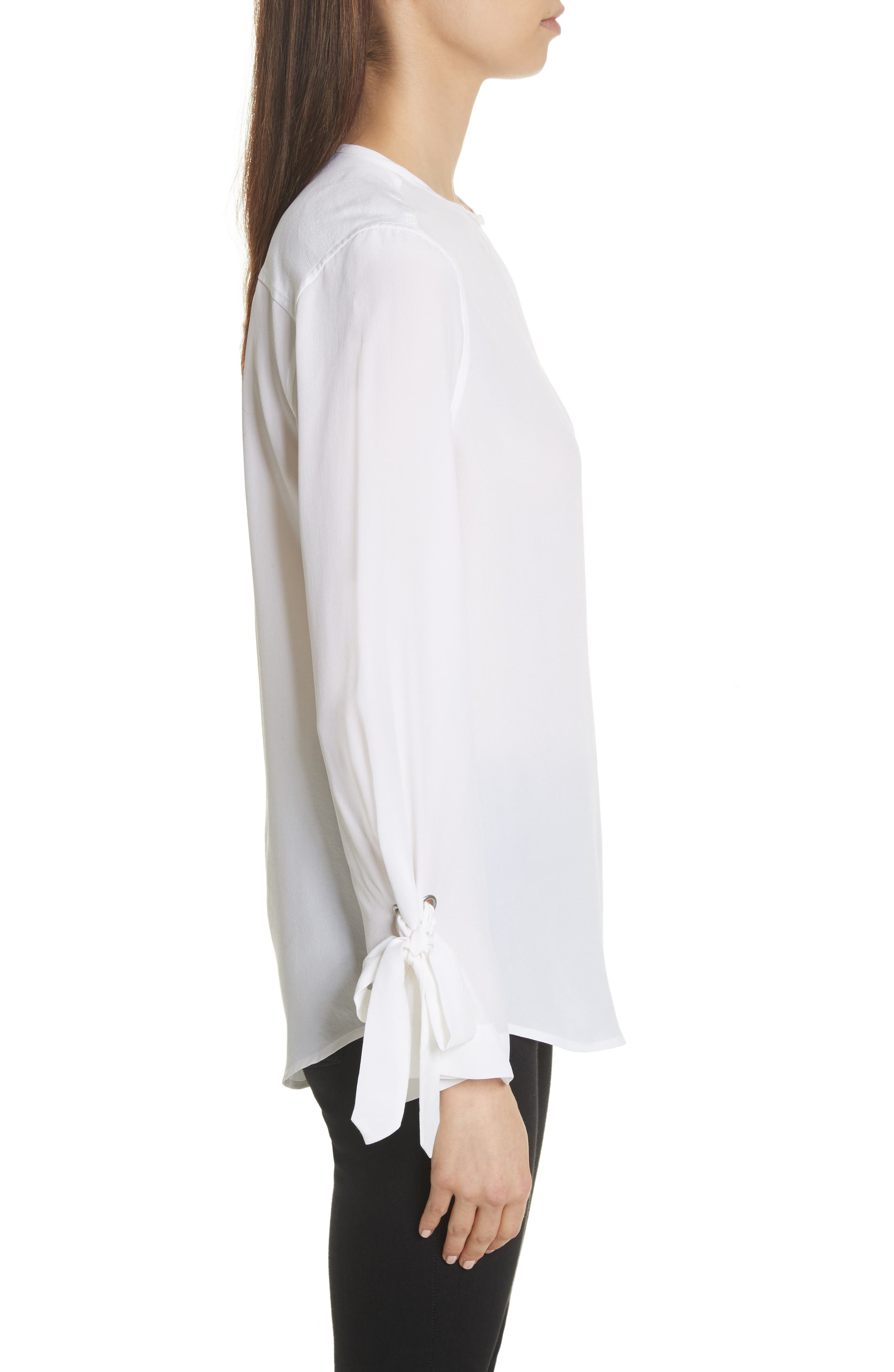 Sayer Tie Sleeve Silk Top,                             Alternate thumbnail 3, color,                             Bright White