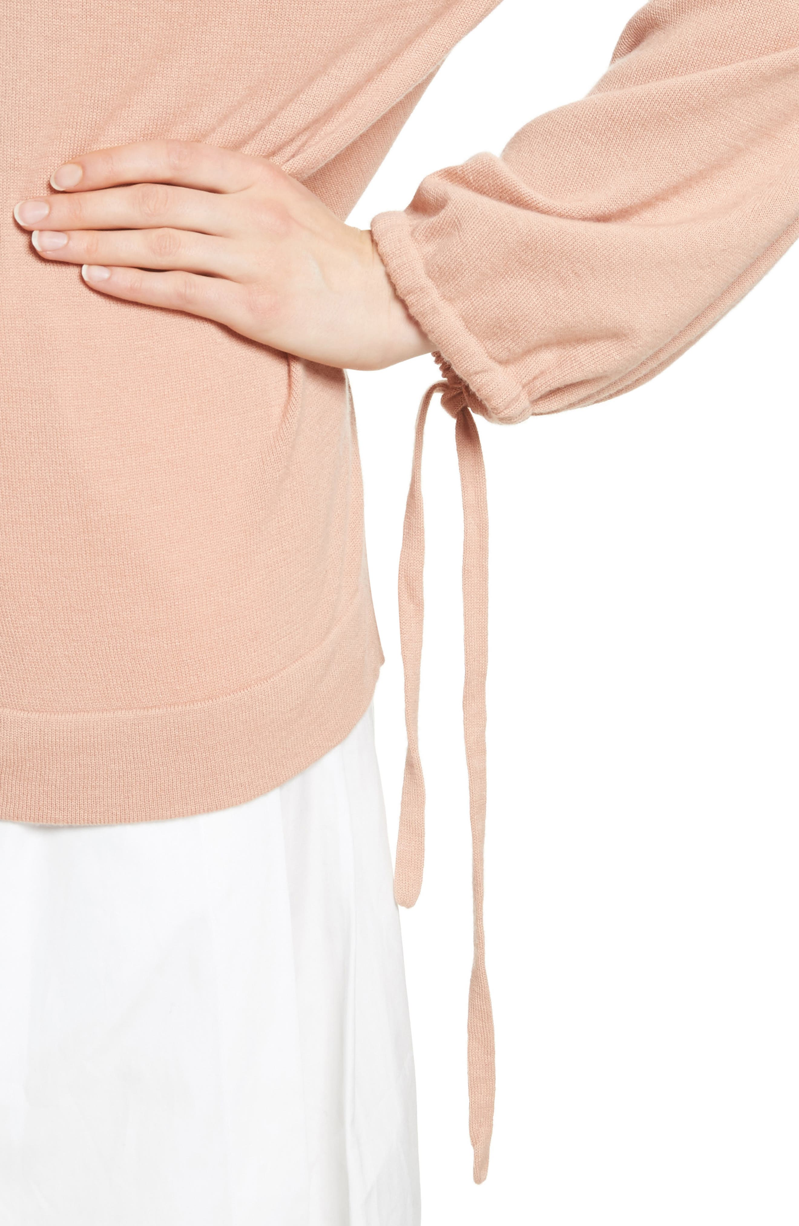 Scrunch Sleeve Cashmere Sweater,                             Alternate thumbnail 4, color,                             Blush