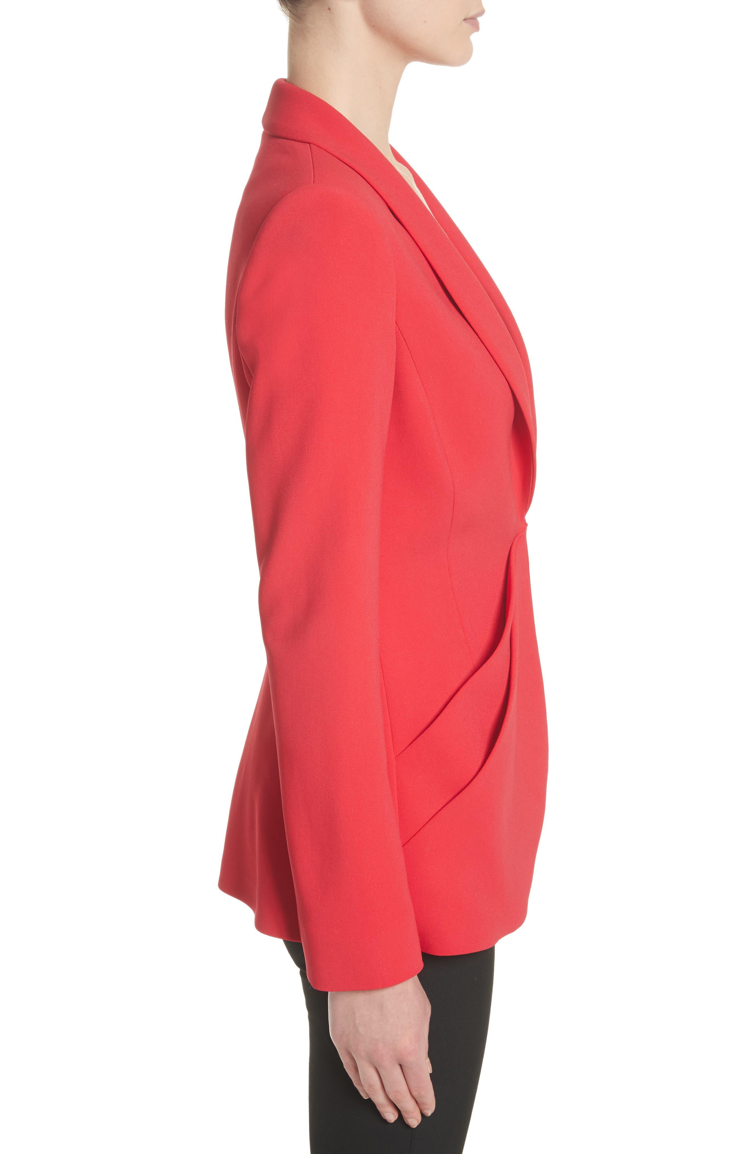 Drape Pocket Crepe Jacket,                             Alternate thumbnail 3, color,                             Red