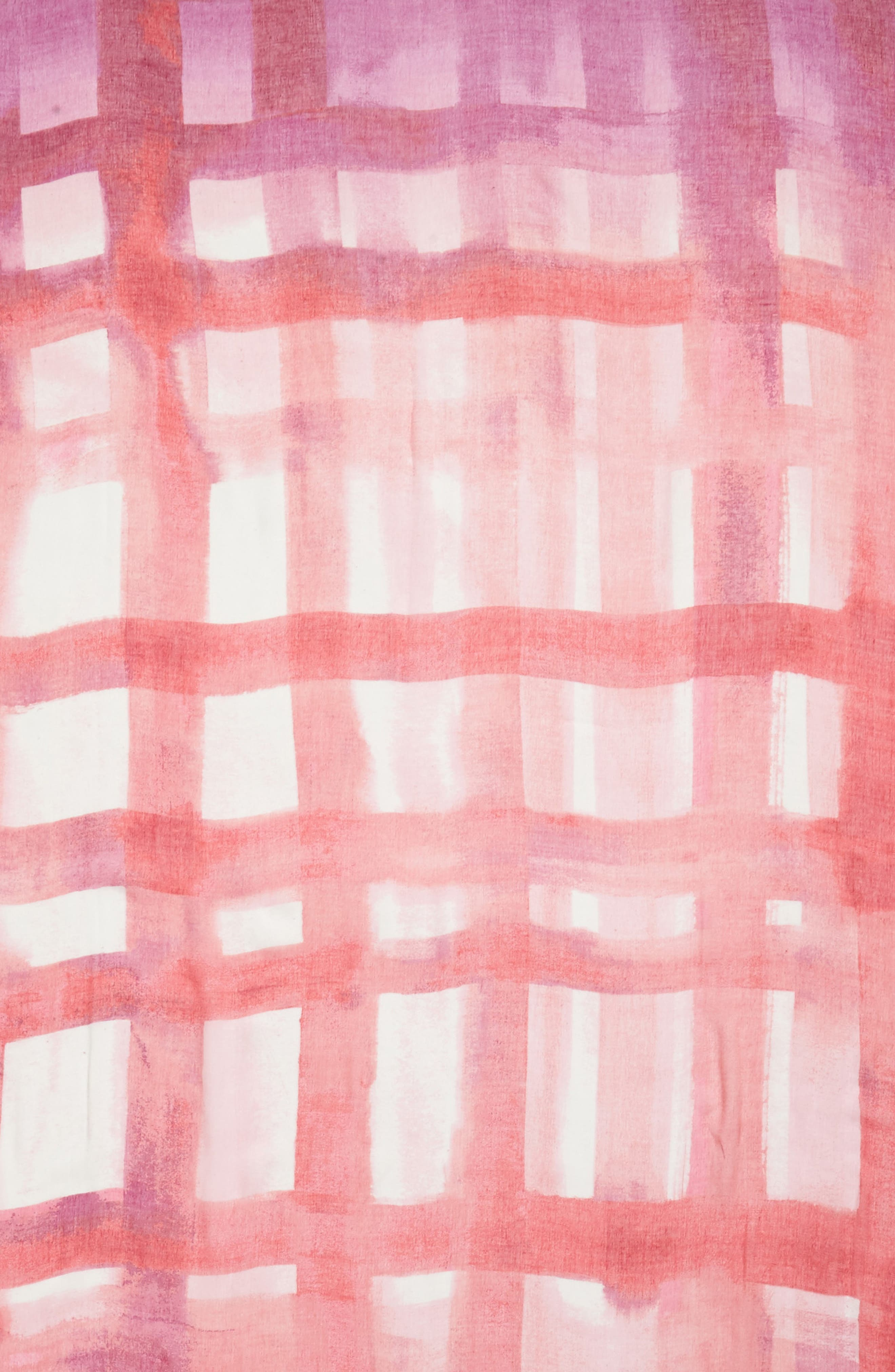 Print Modal & Silk Scarf,                             Alternate thumbnail 4, color,                             Pink Painted Gingham Print