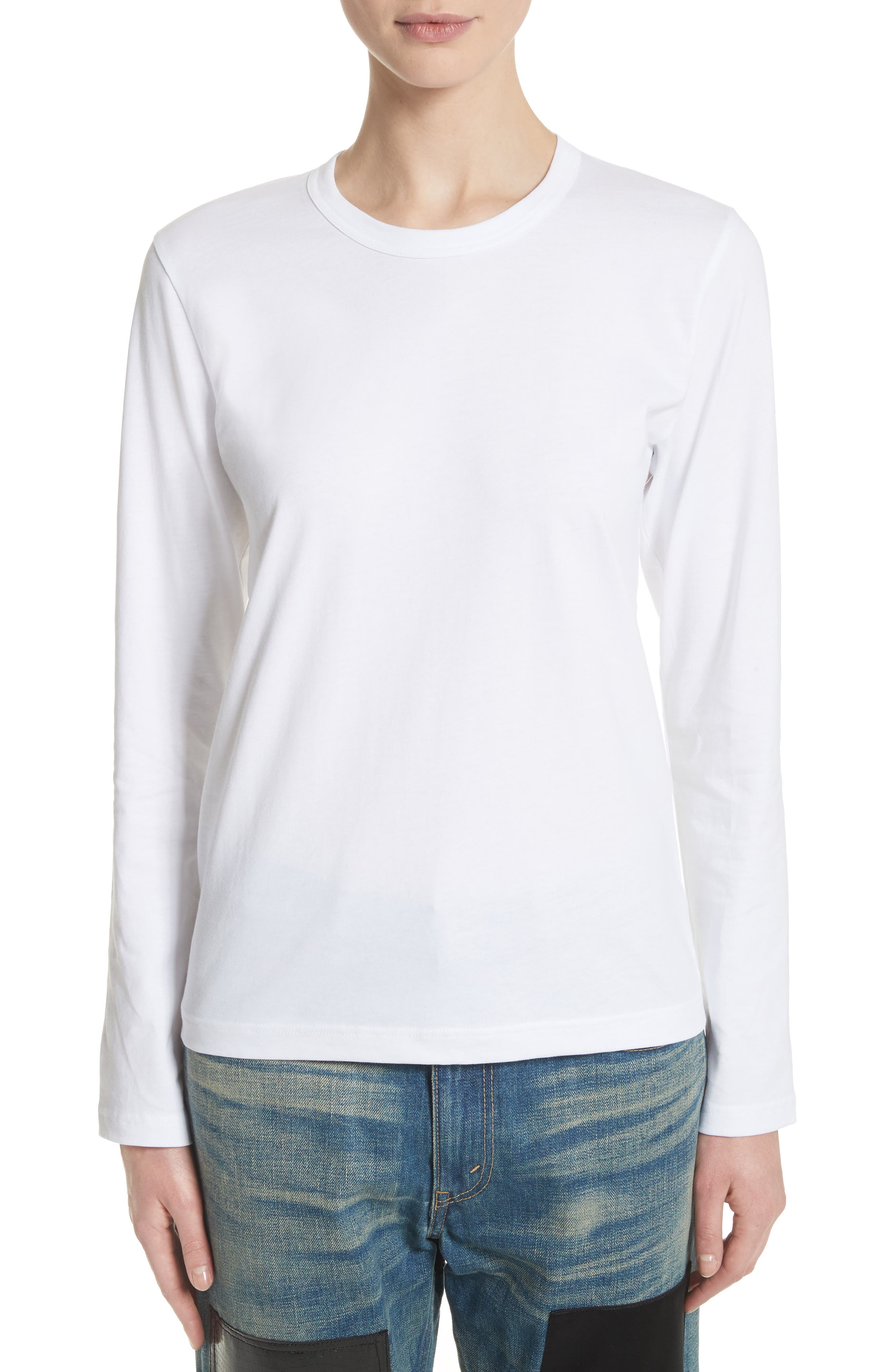 Crewneck Tee,                         Main,                         color, White
