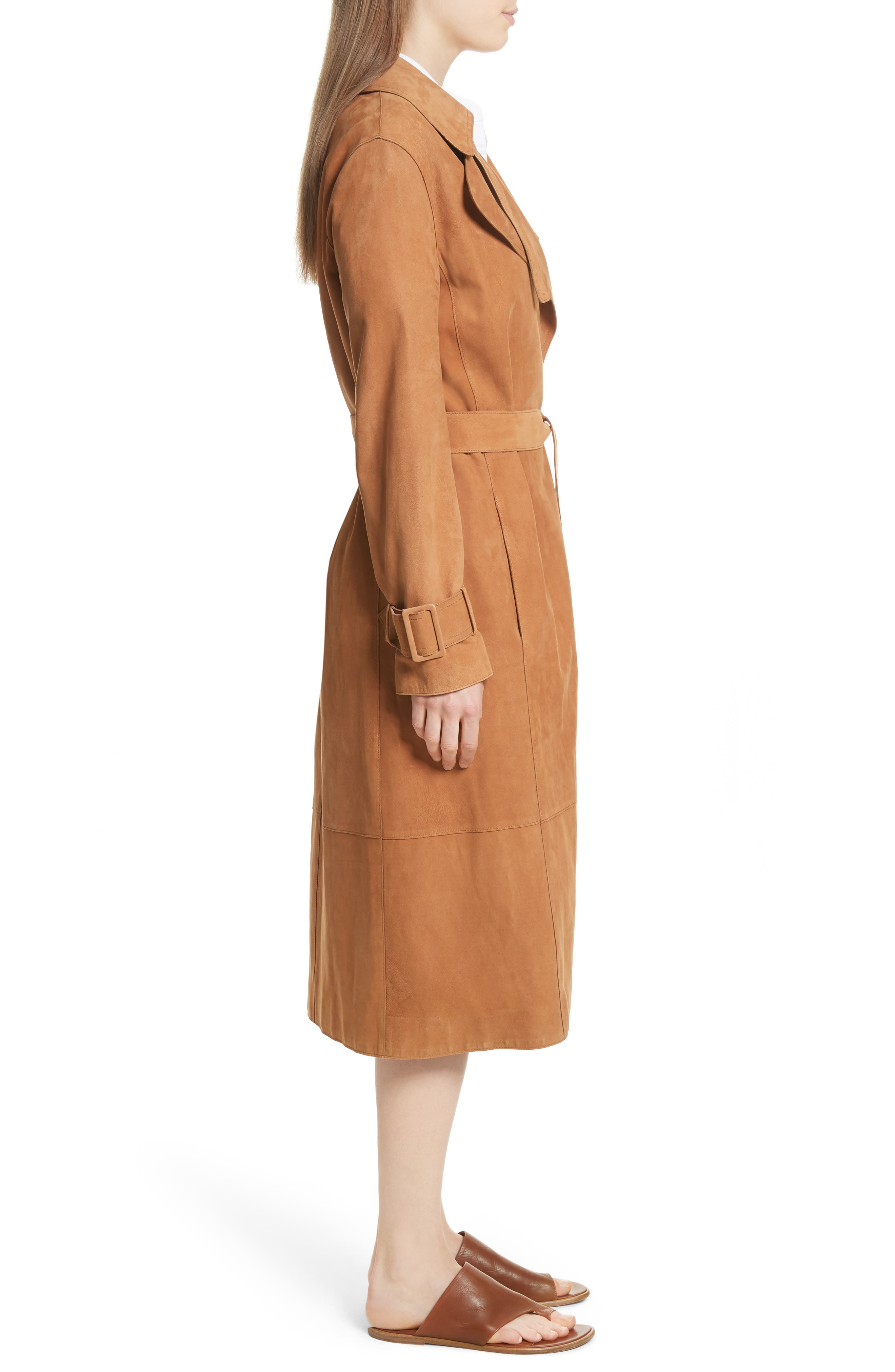 Suede Trench Coat,                             Alternate thumbnail 3, color,                             Deep Saddle