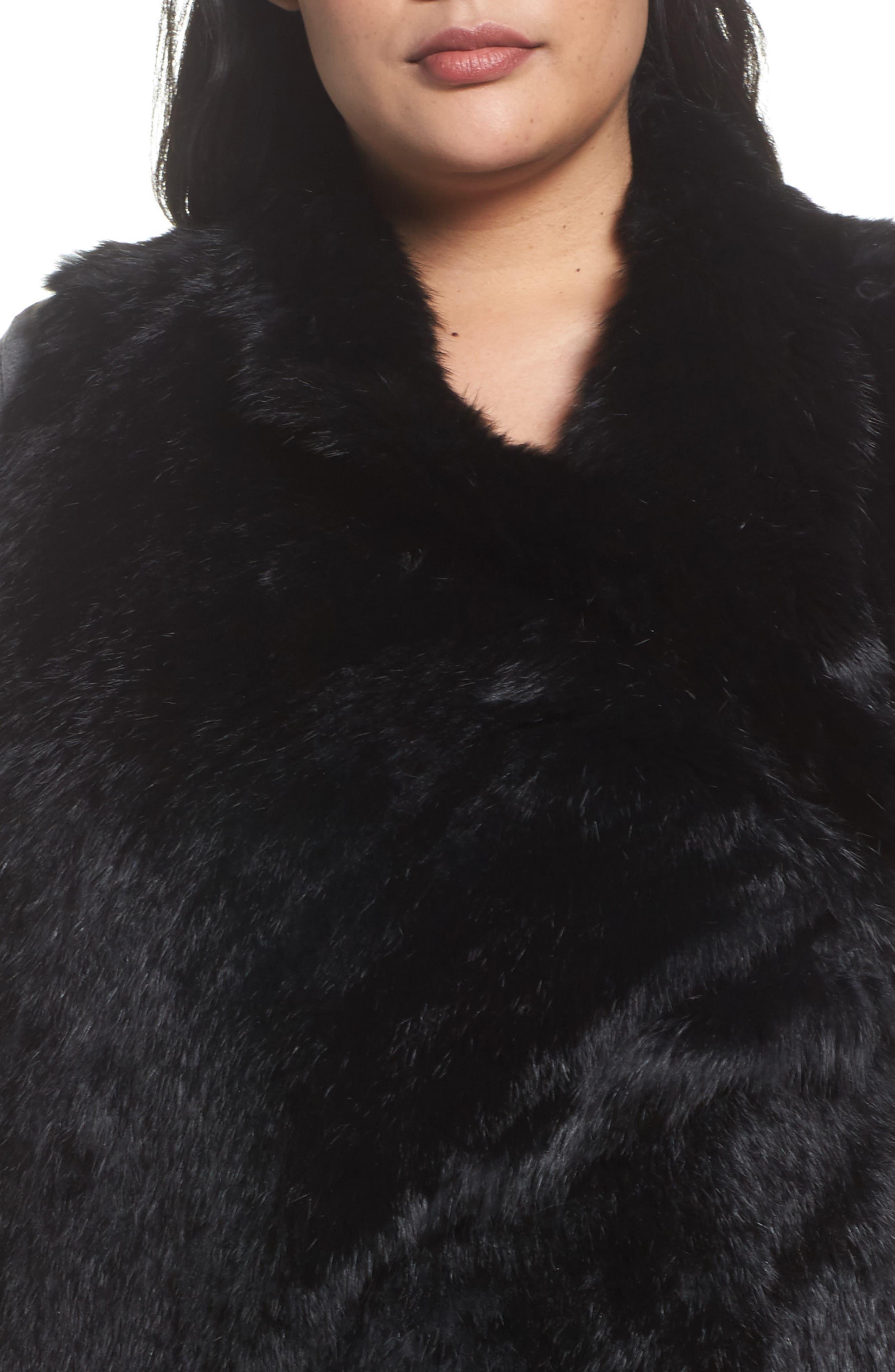 Genuine Rabbit Fur Vest,                             Alternate thumbnail 4, color,                             Black