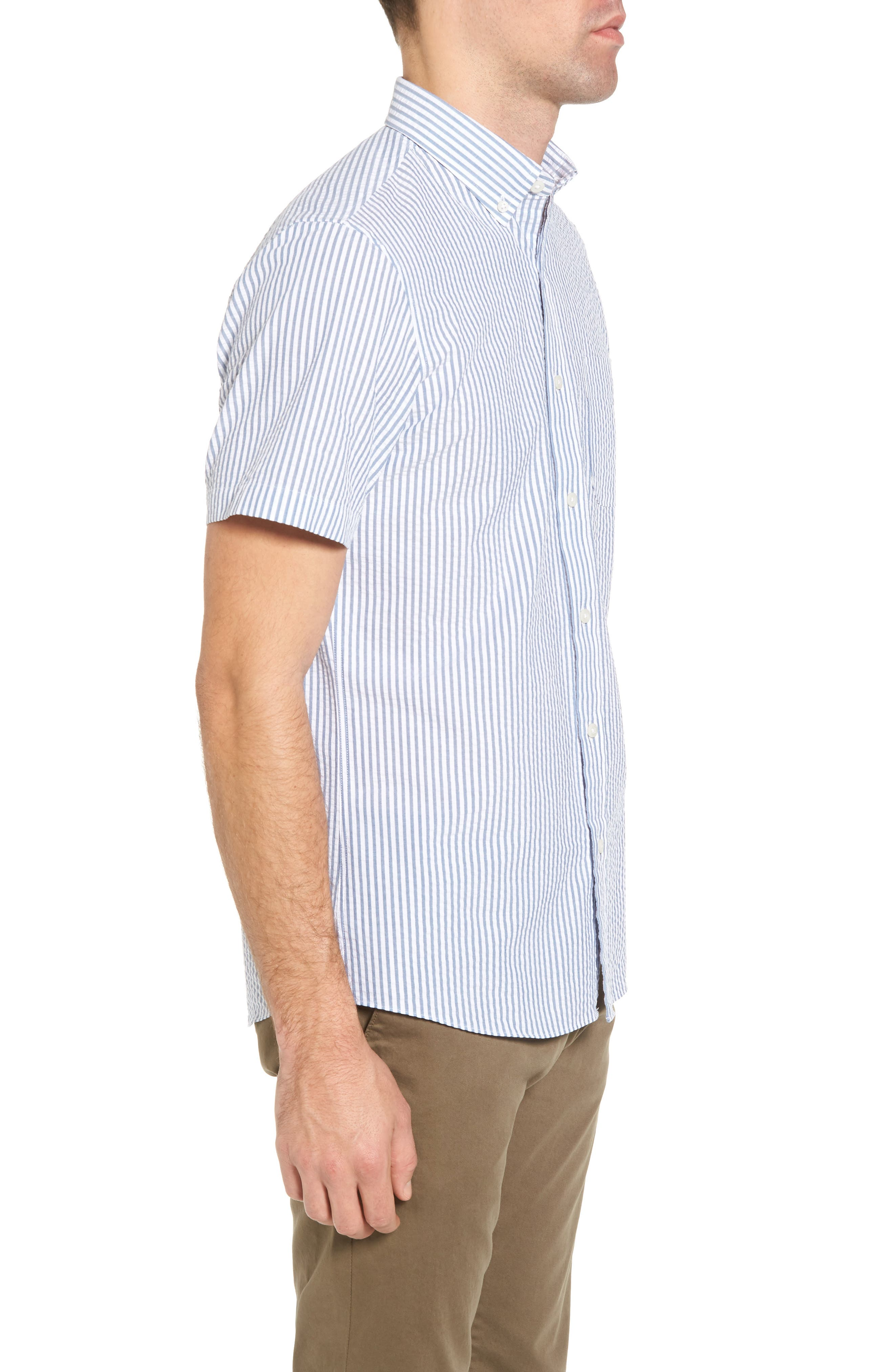 Trim Fit Seersucker Short Sleeve Sport Shirt,                             Alternate thumbnail 4, color,                             White Navy Seersucker Stripe