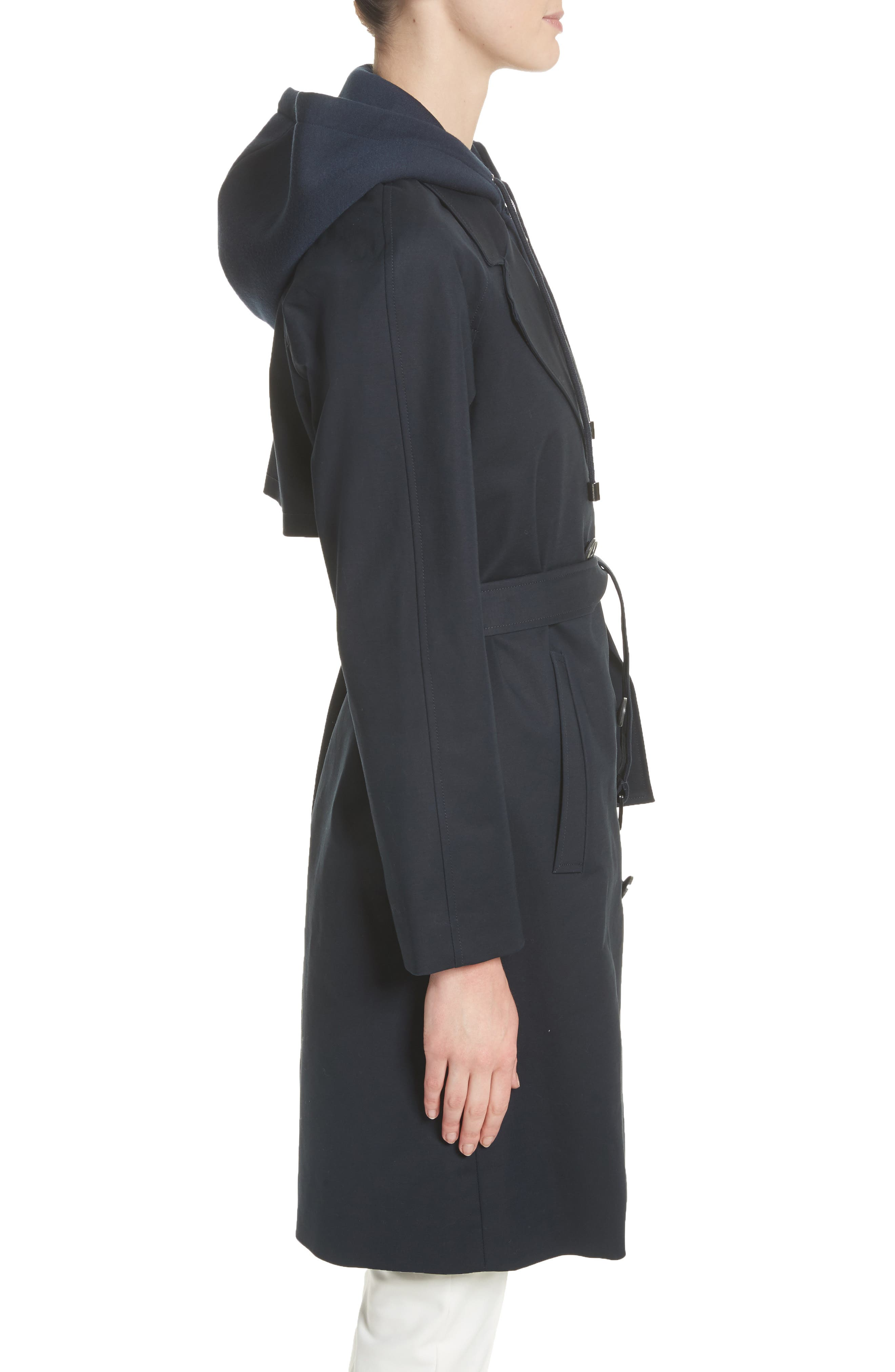 Double Breasted Cotton Blend Trench Coat with Removable Hoodie Inset,                             Alternate thumbnail 4, color,                             Navy