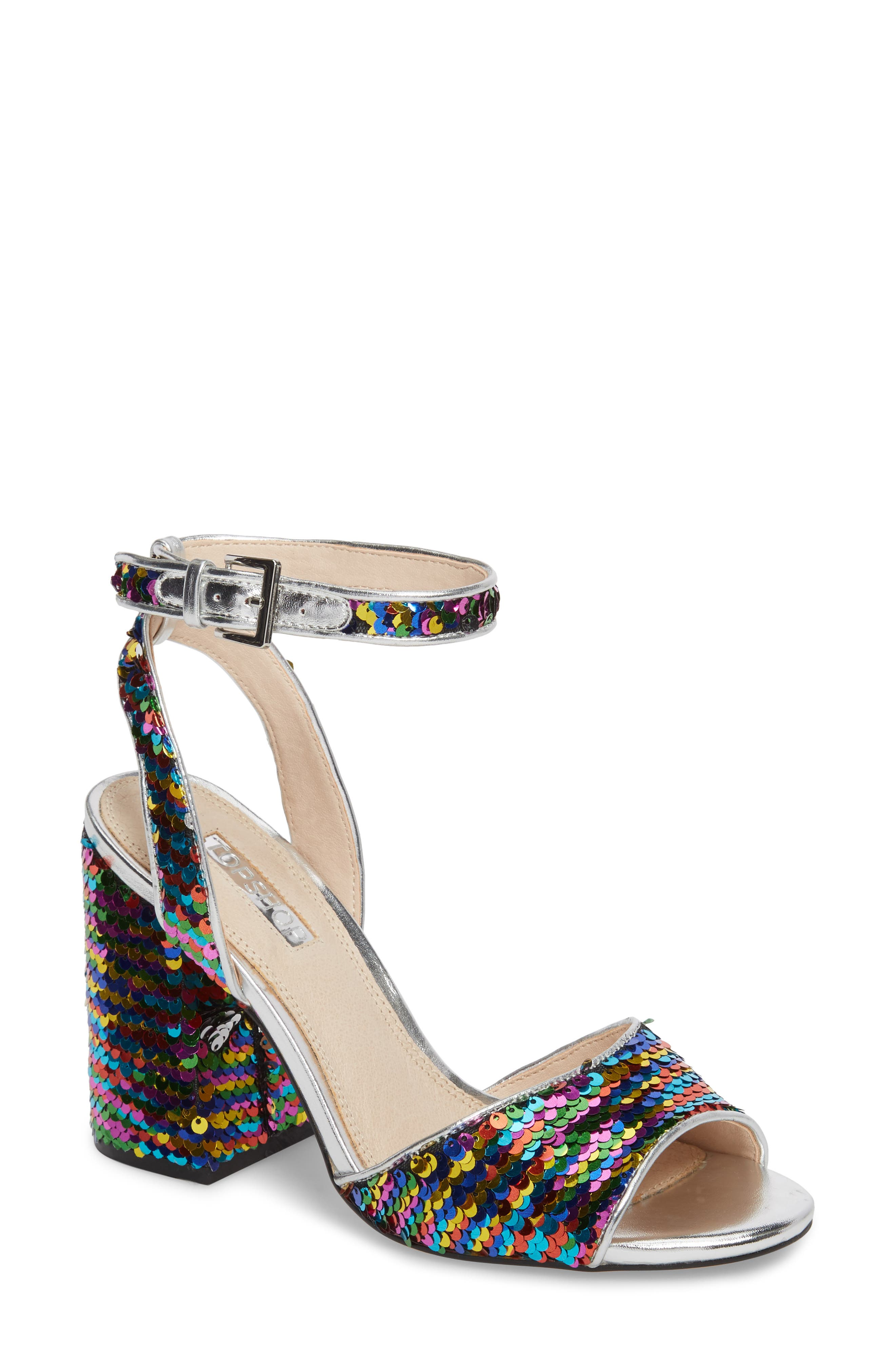 Reaction Sequin Block Heel Sandal,                         Main,                         color, Silver Multi