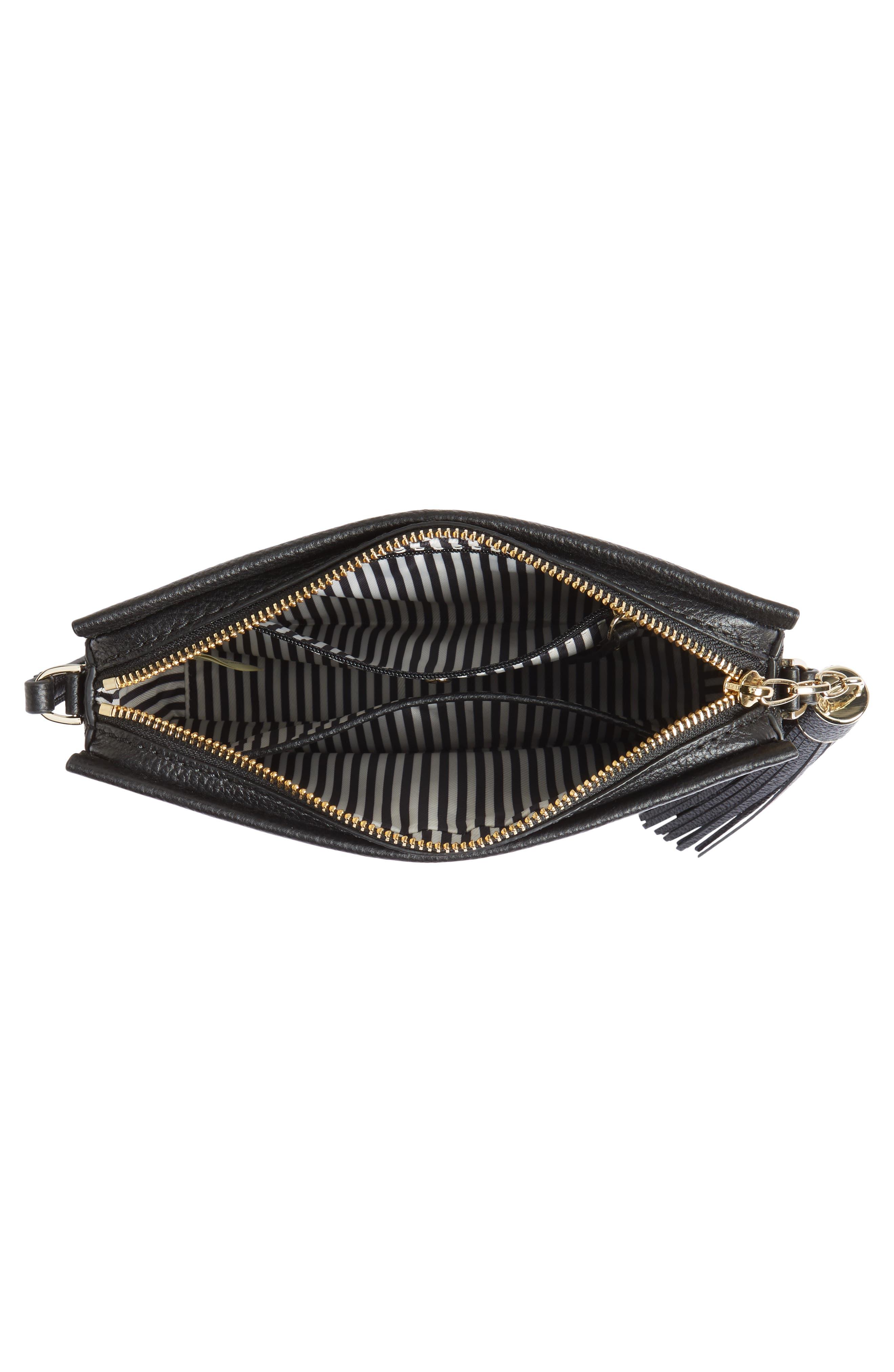 kingston drive - gillian leather crossbody bag,                             Alternate thumbnail 4, color,                             Black