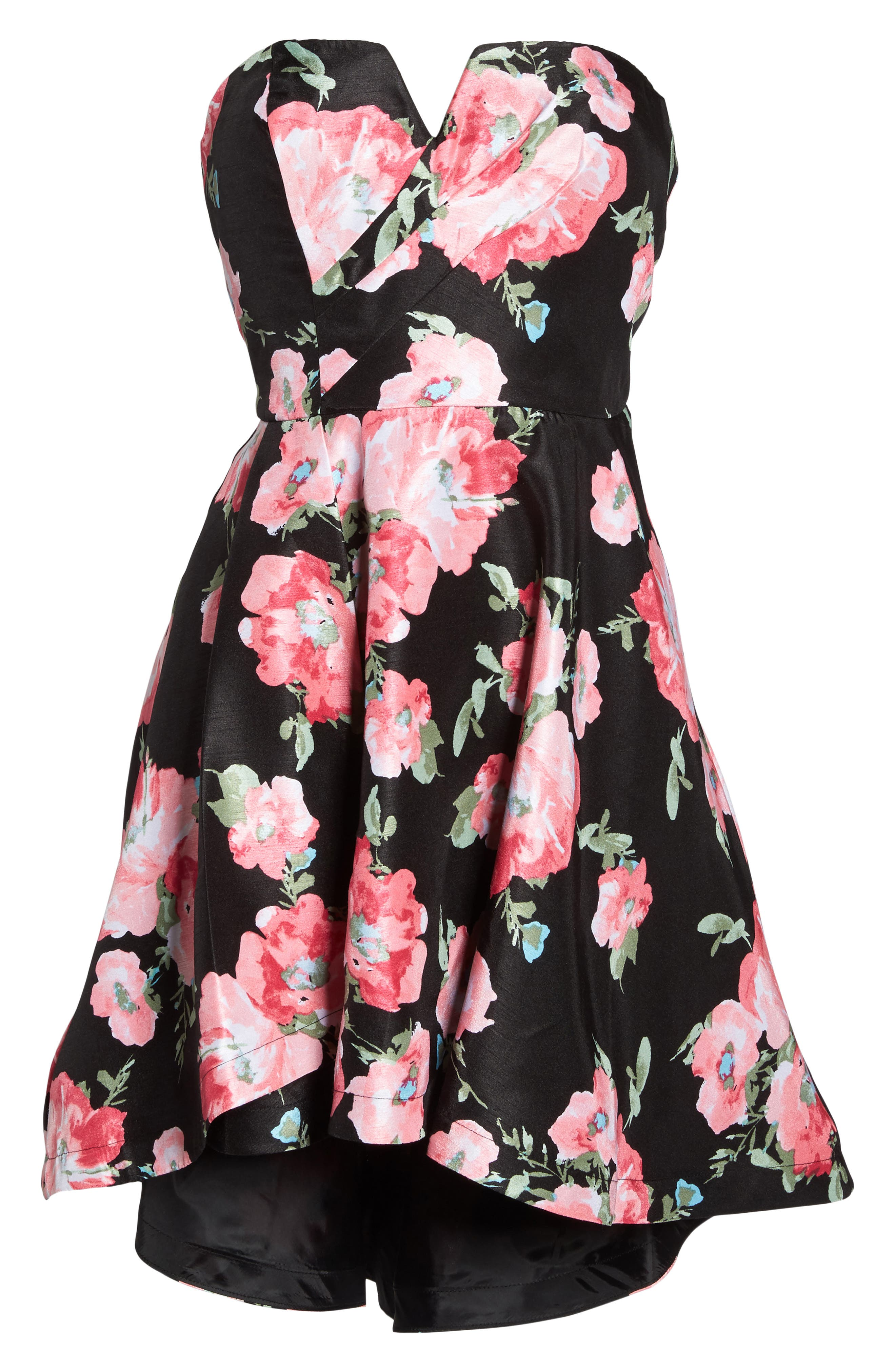 Floral High/Low Strapless Dress,                             Alternate thumbnail 6, color,                             Black/ Rose