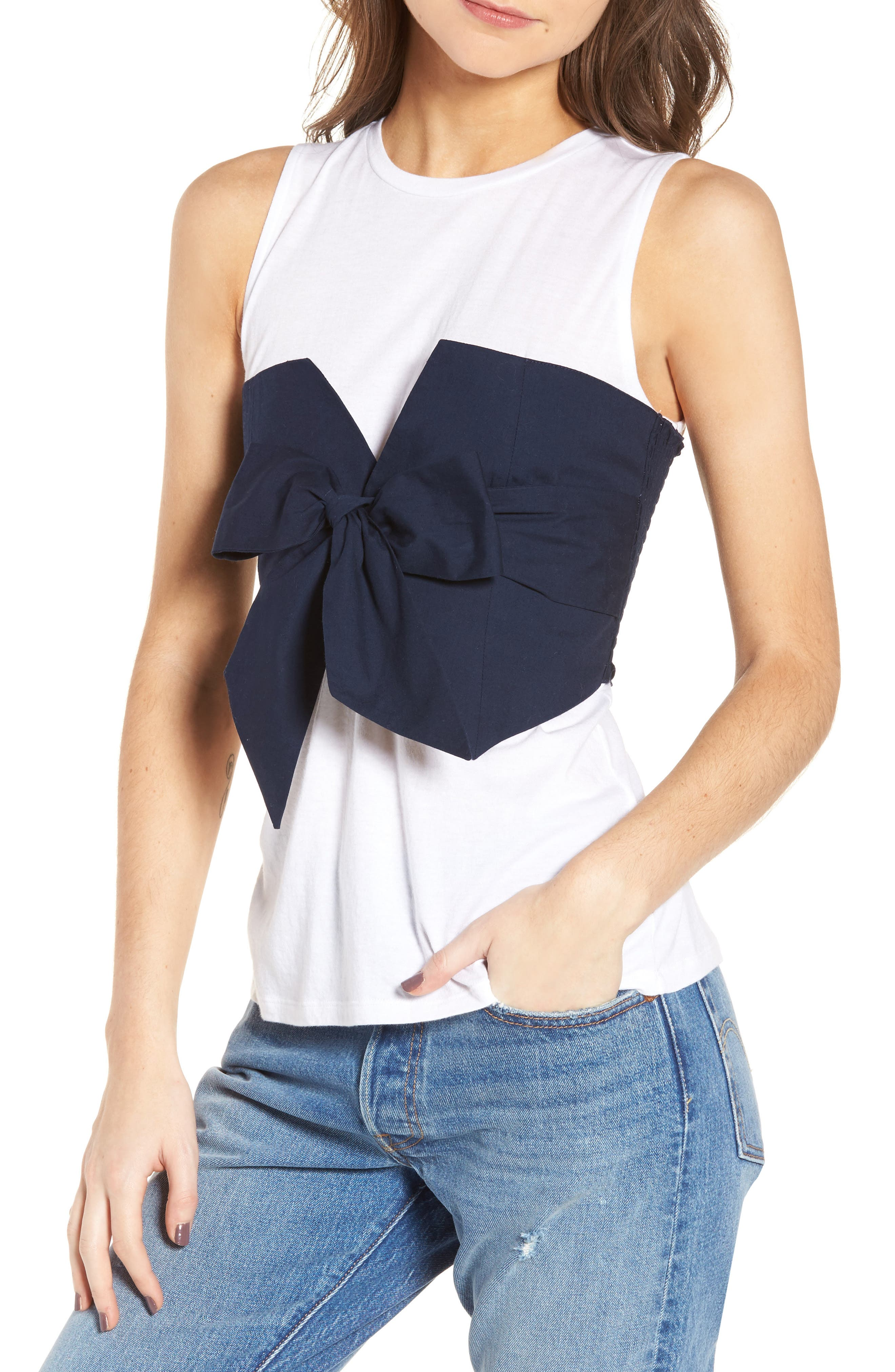 Tie Front Corset Tee,                         Main,                         color, White