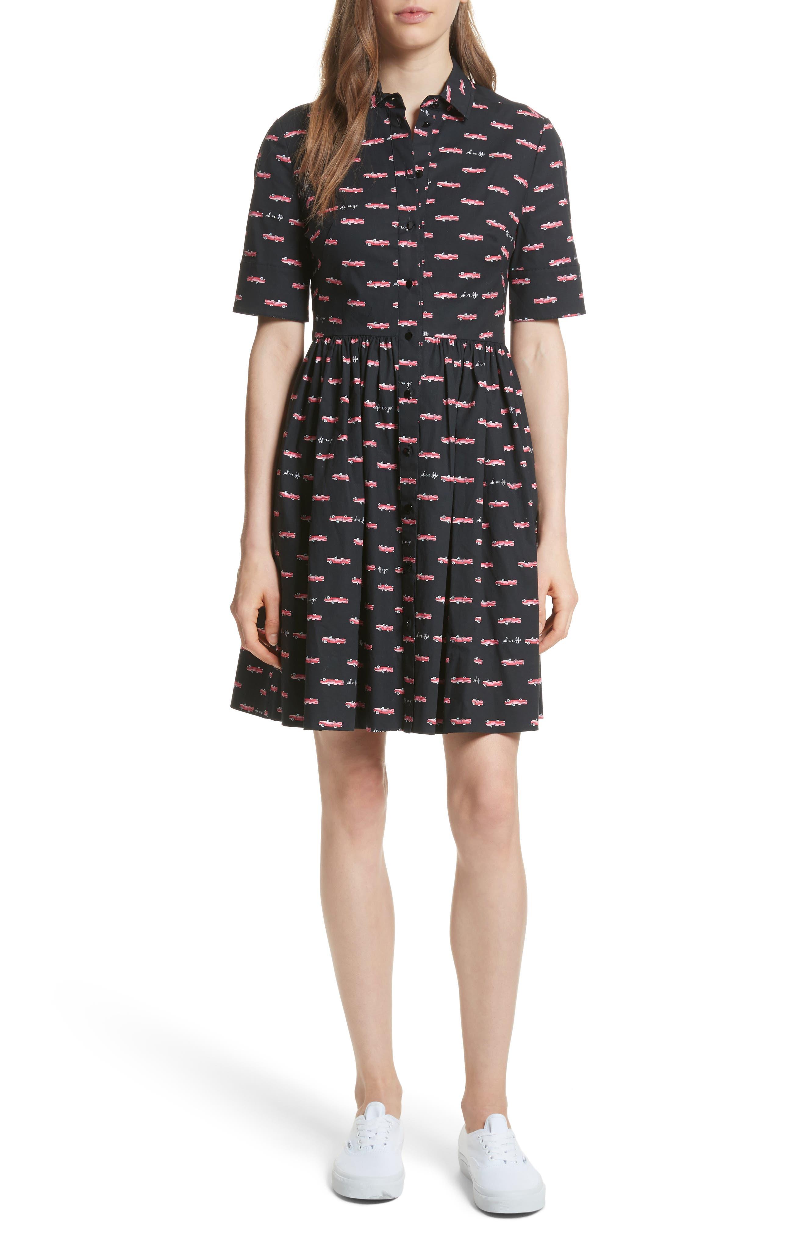 kate spade hot rod poplin fit & flare dress,                         Main,                         color, Black