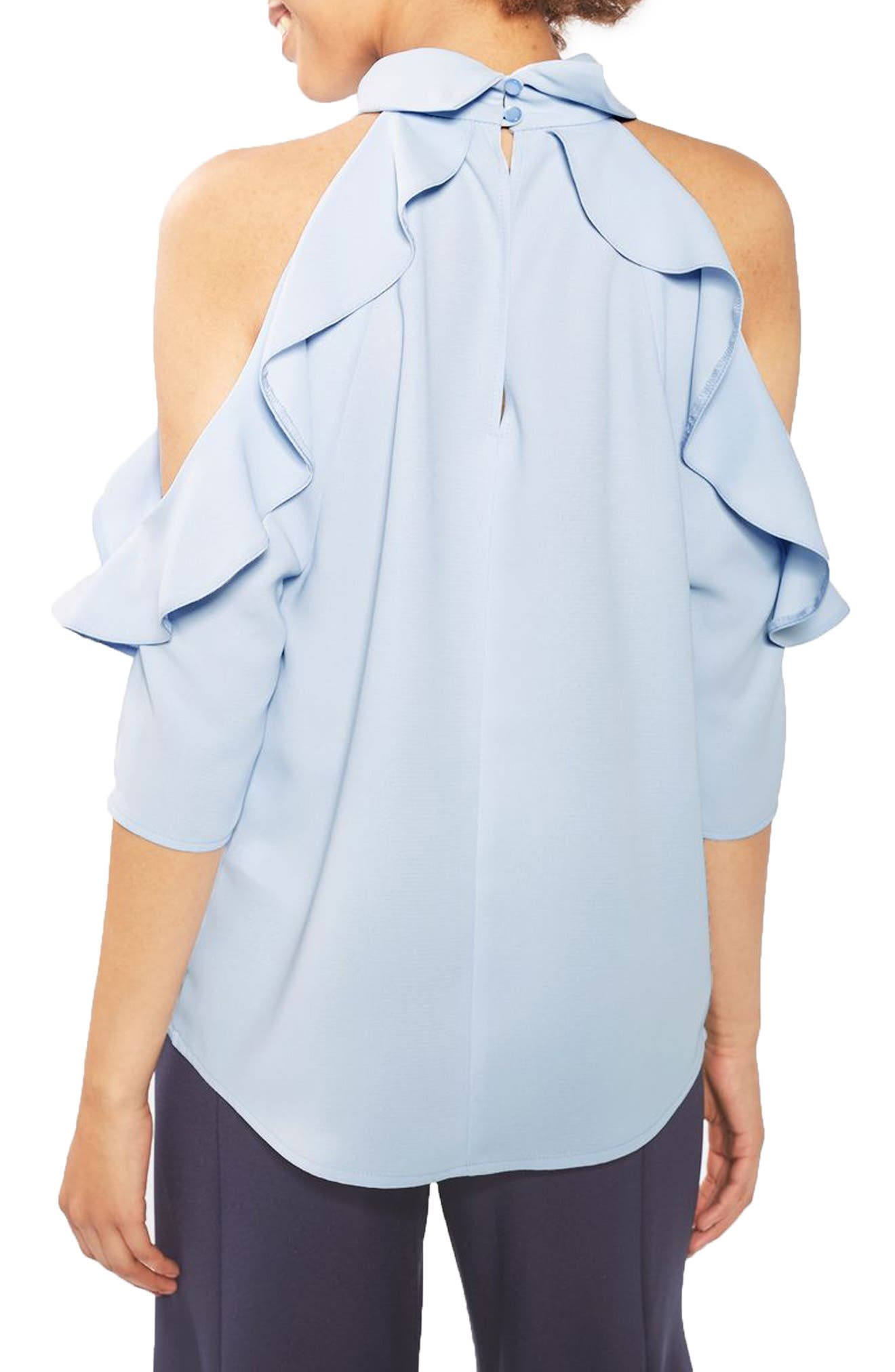 Ruffle Cold Shoulder Top,                             Alternate thumbnail 3, color,                             Blue
