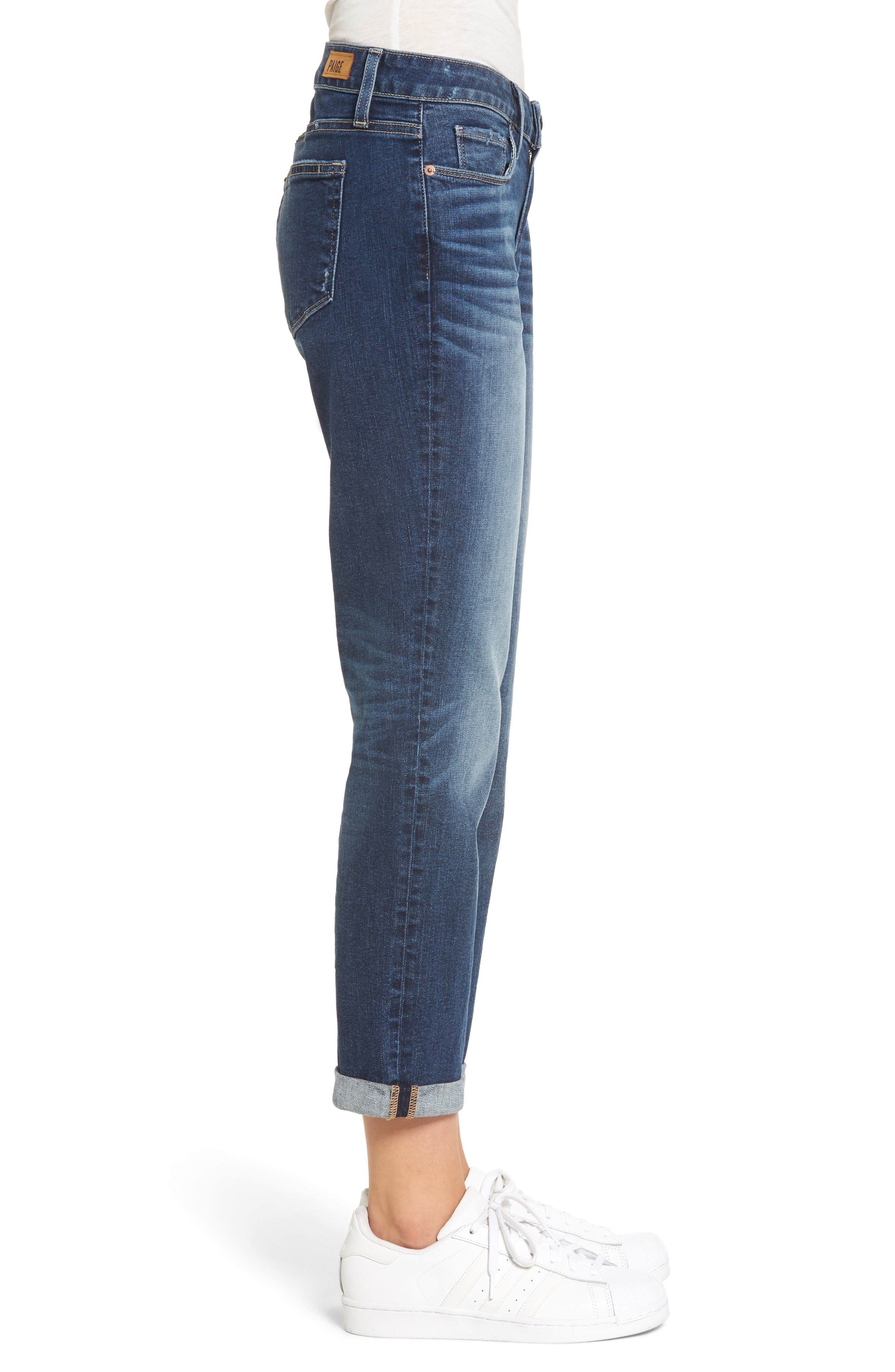 Jimmy Jimmy High Waist Crop Boyfriend Jeans,                             Alternate thumbnail 3, color,                             Blue