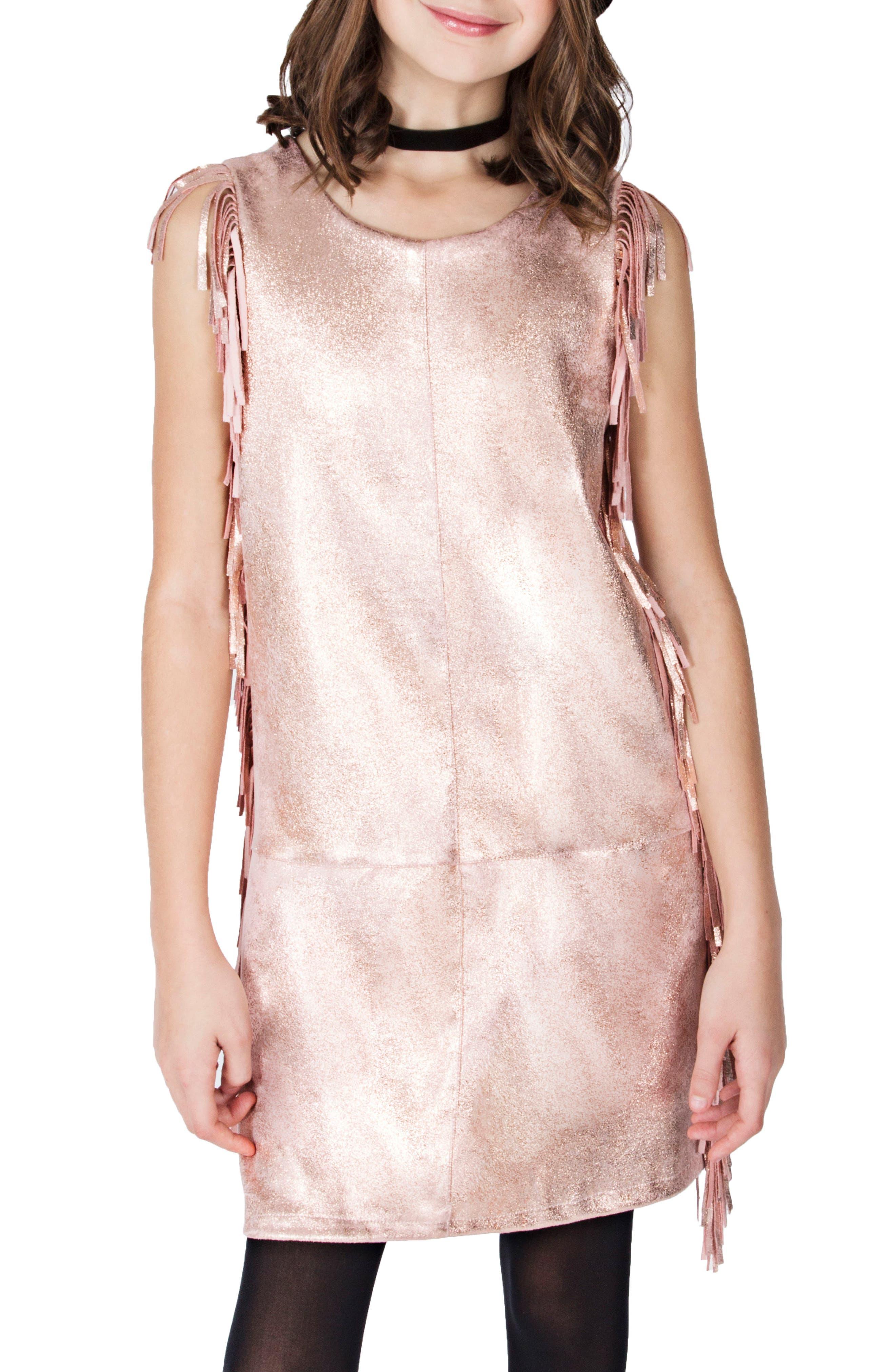 Metallic Fringe Dress,                             Alternate thumbnail 2, color,                             Rose Gold