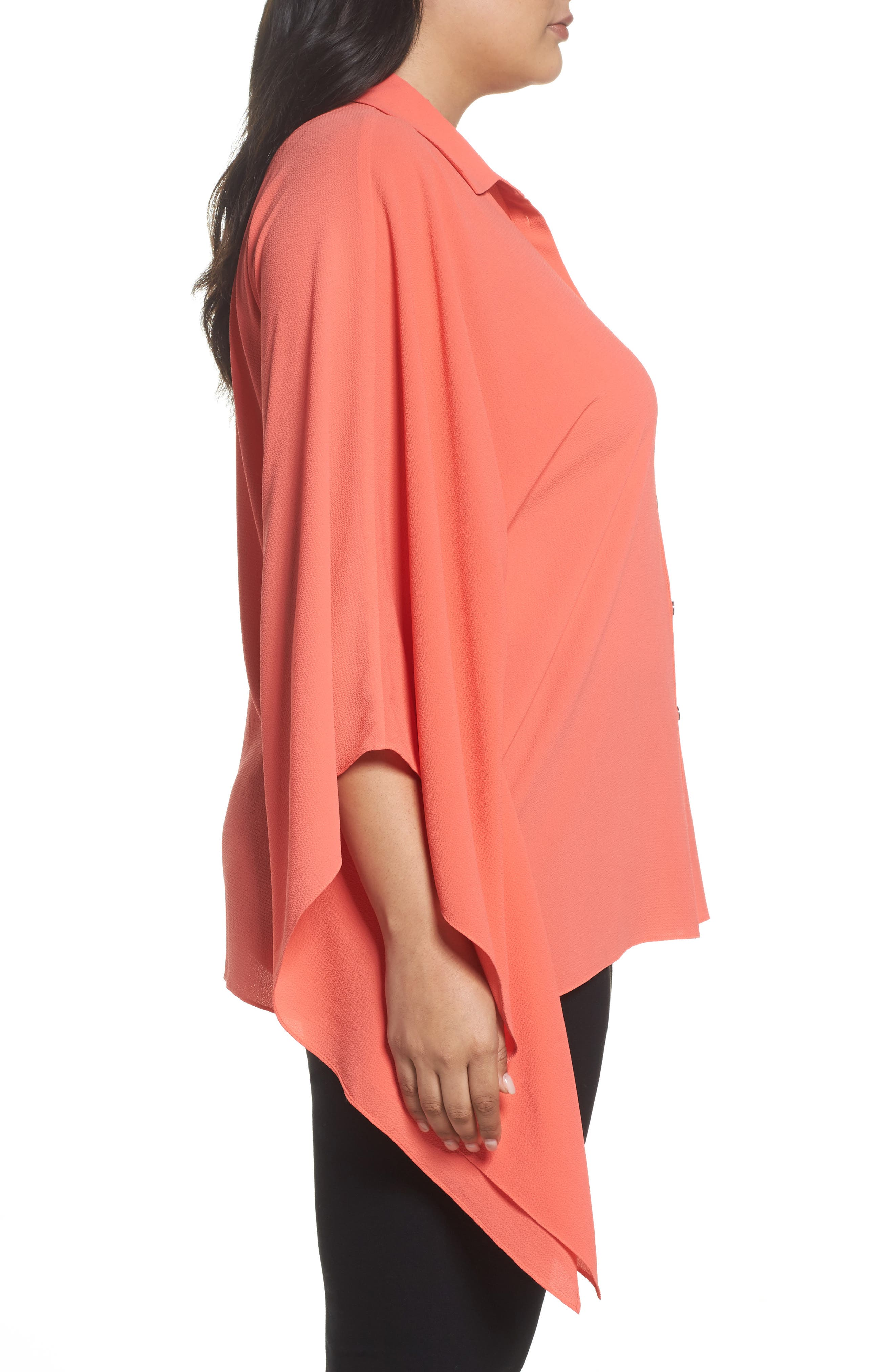 Button Down Collared Poncho Top,                             Alternate thumbnail 3, color,                             Melon