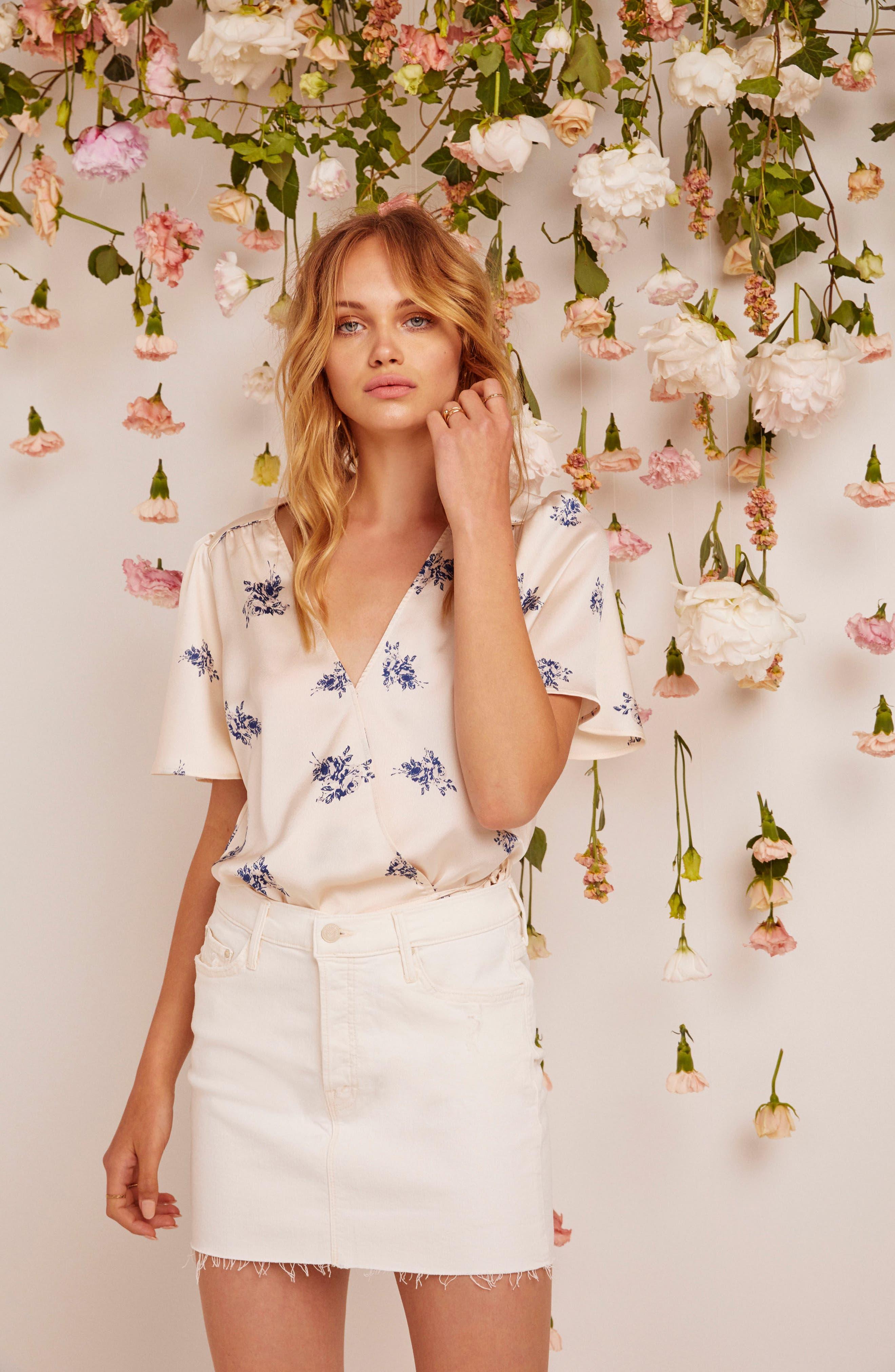 Hadley Bodysuit,                             Alternate thumbnail 4, color,                             Cream Satin Floral