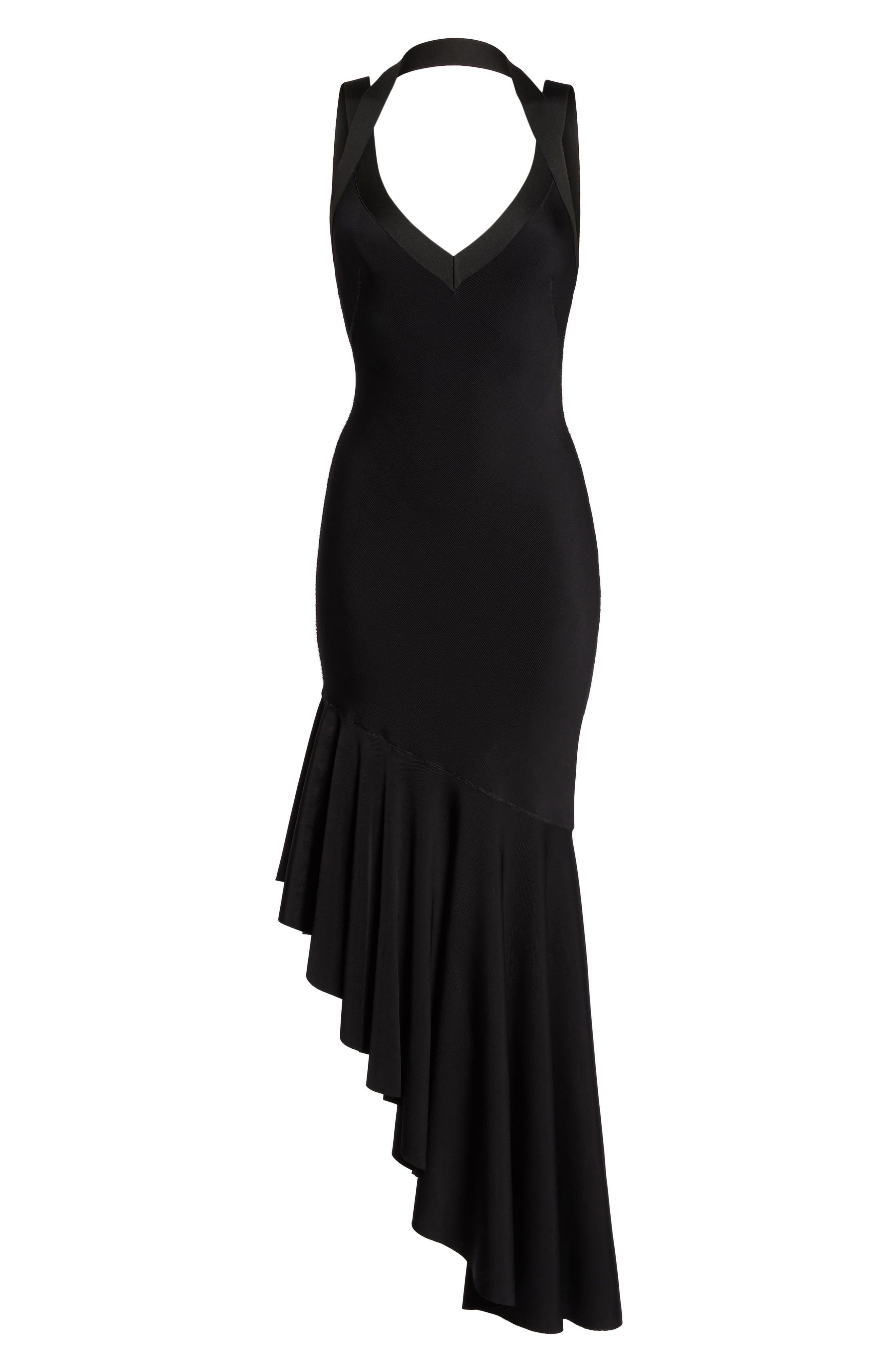 Tara High/Low Knit Dress,                             Alternate thumbnail 6, color,                             Black