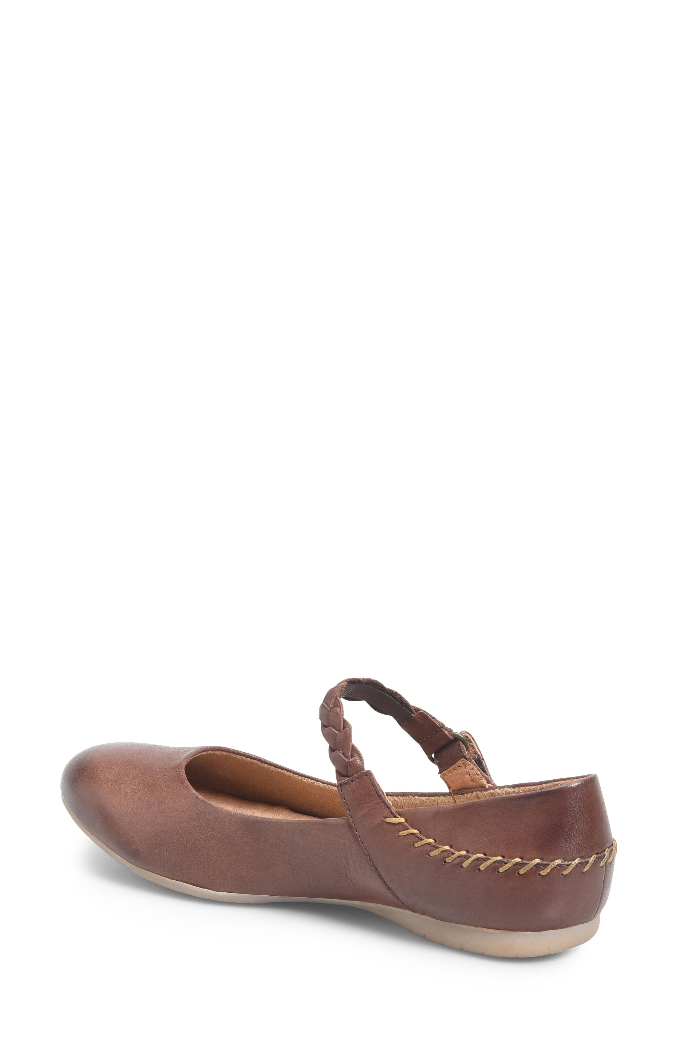Mary Jane Flat,                             Alternate thumbnail 2, color,                             Brown Leather