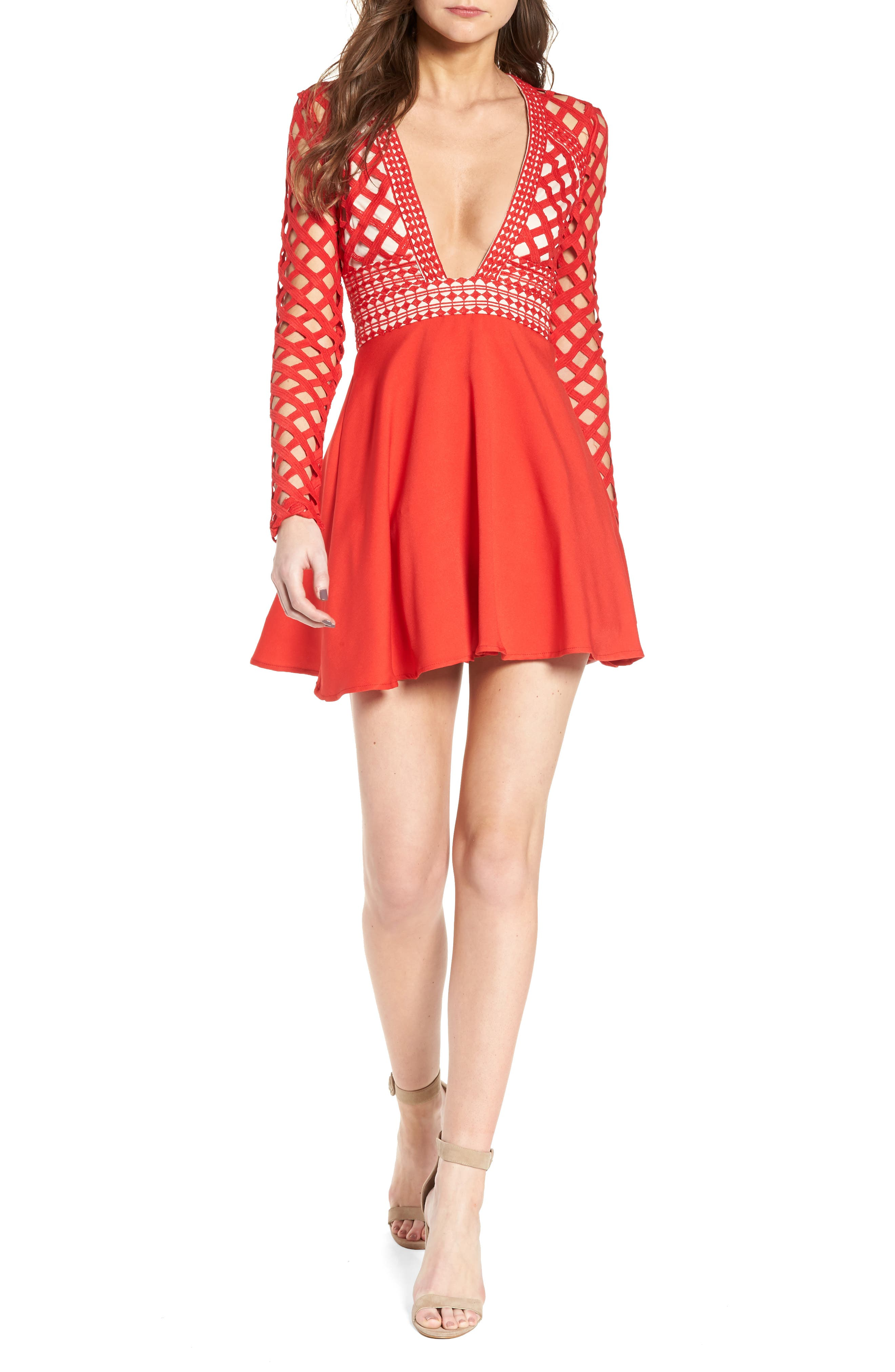 Missguided Bardot Lace Top Skater Dress
