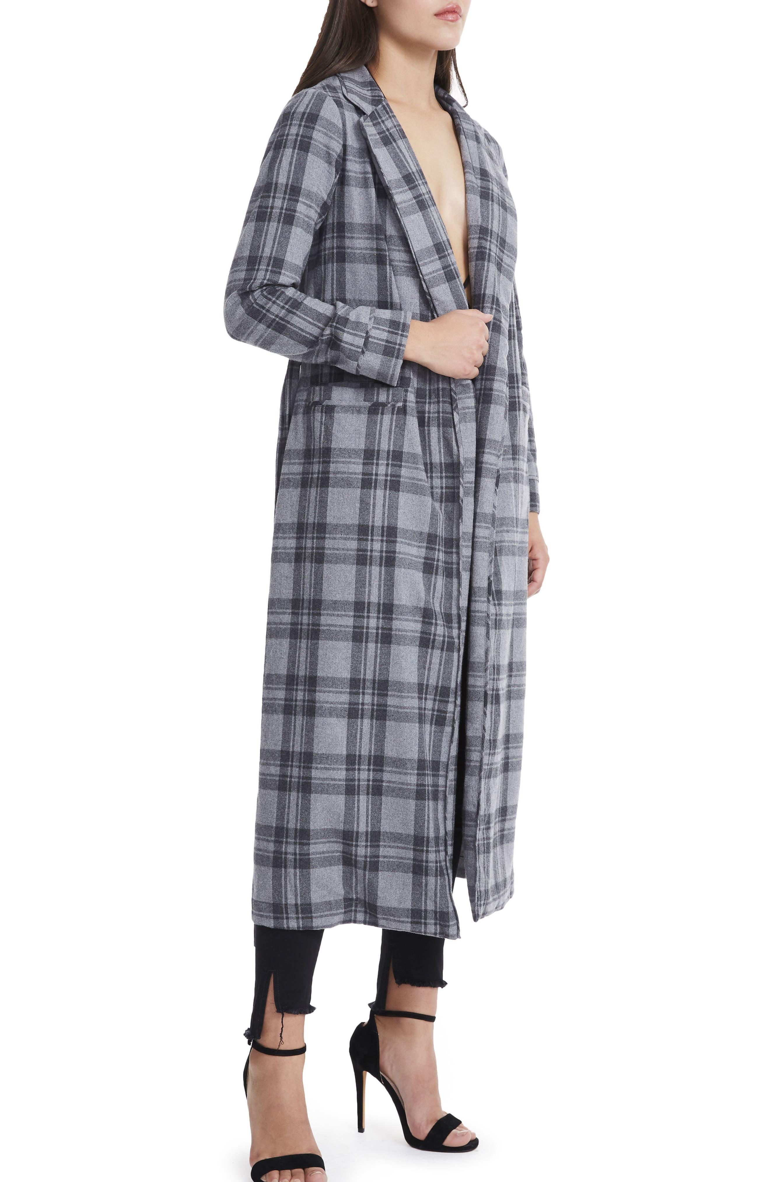 Sol Flannel Wrap Coat,                             Alternate thumbnail 4, color,                             Grey Plaid