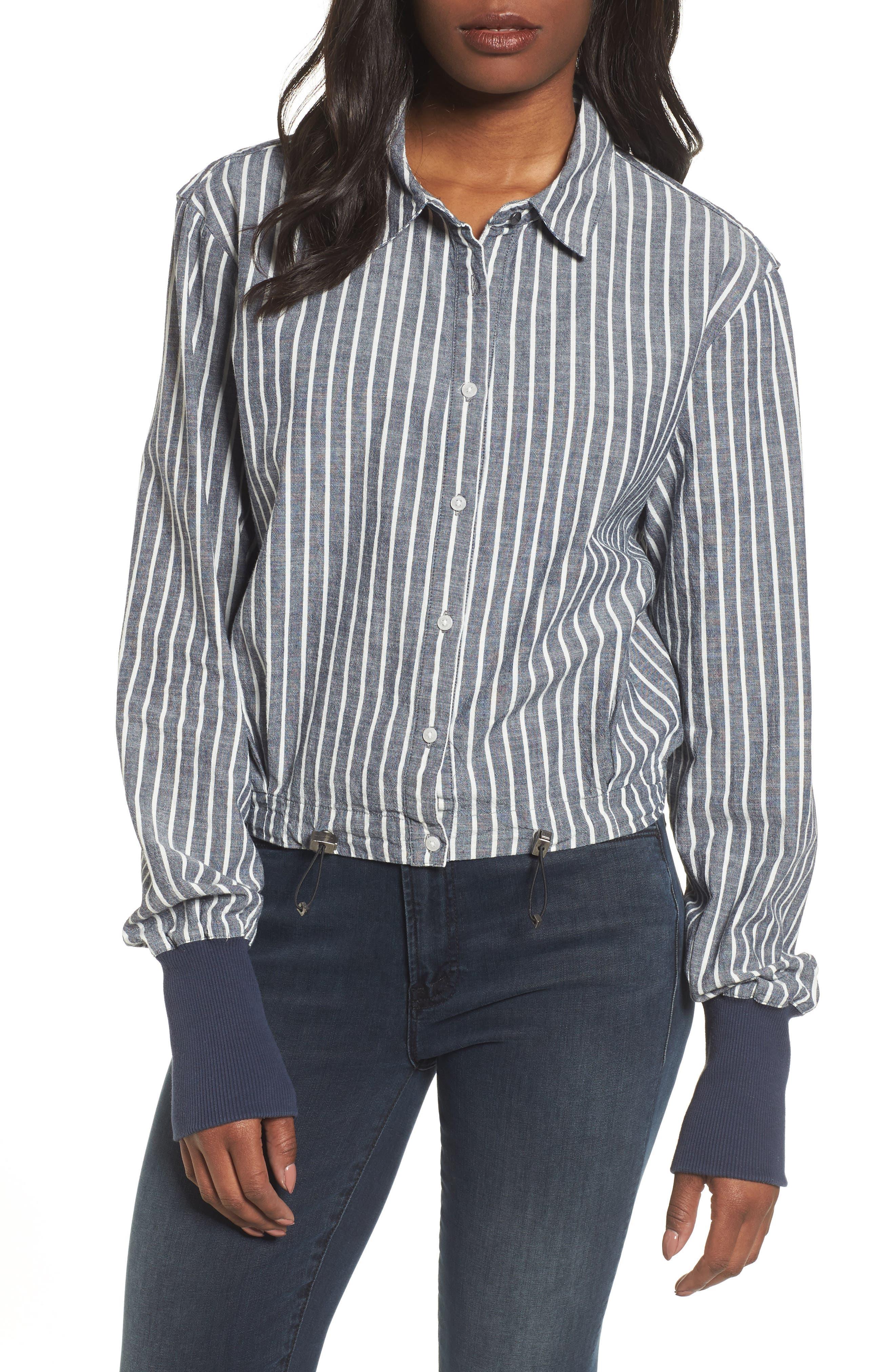 Boxy Button Down Shirt,                         Main,                         color, Standard Stripe Indigo