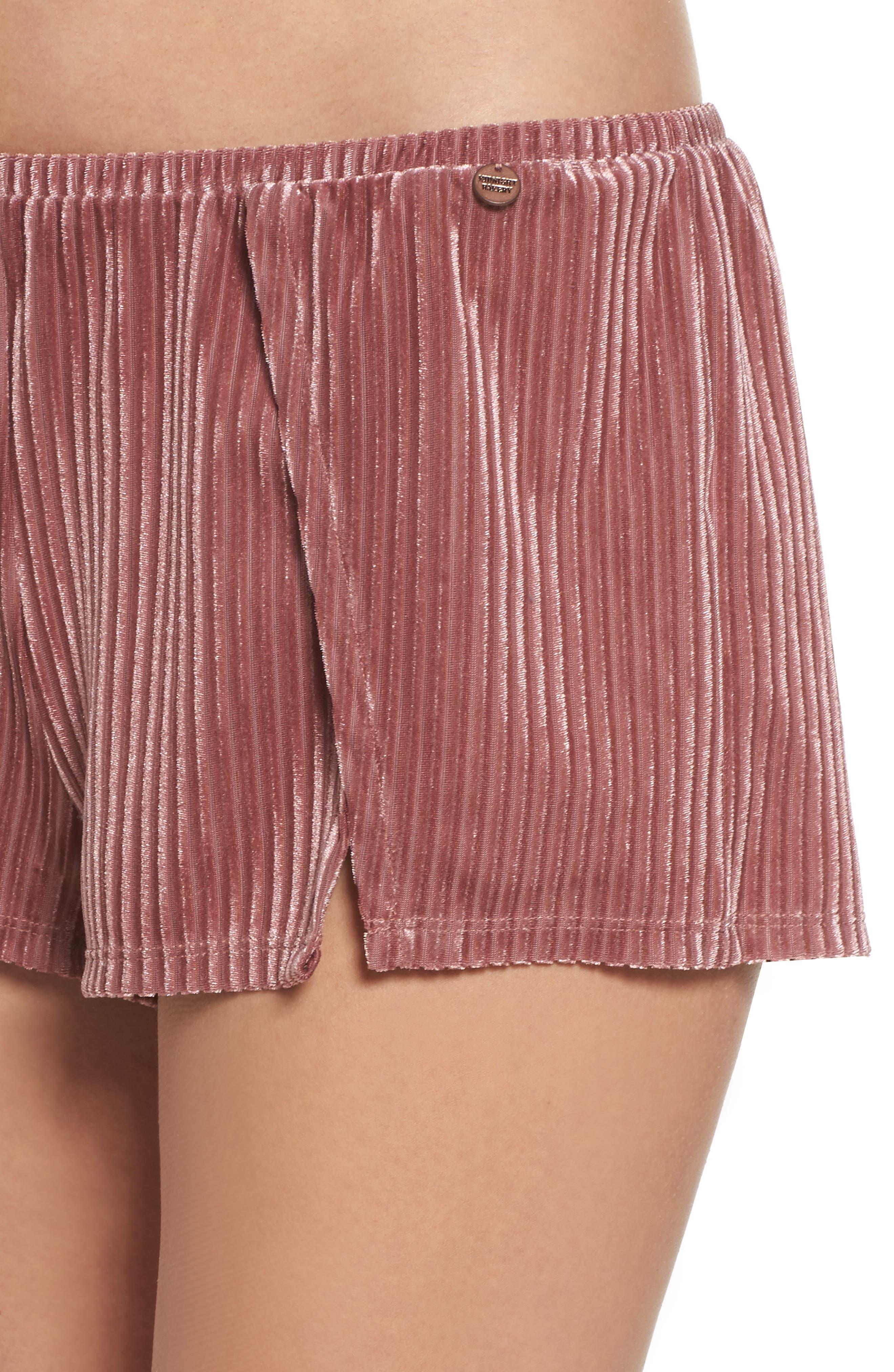 Velvet Pajama Shorts,                             Alternate thumbnail 5, color,                             Rose