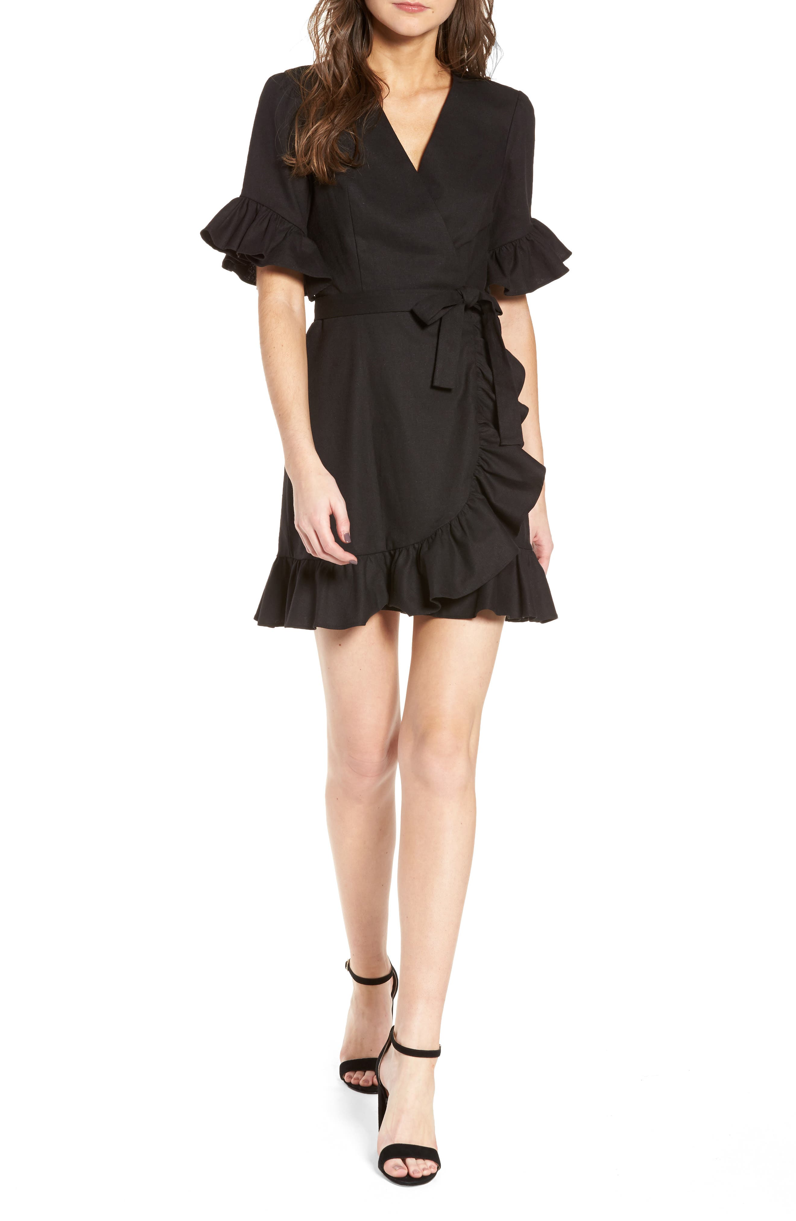 Ruffle Wrap Dress,                             Main thumbnail 1, color,                             Black