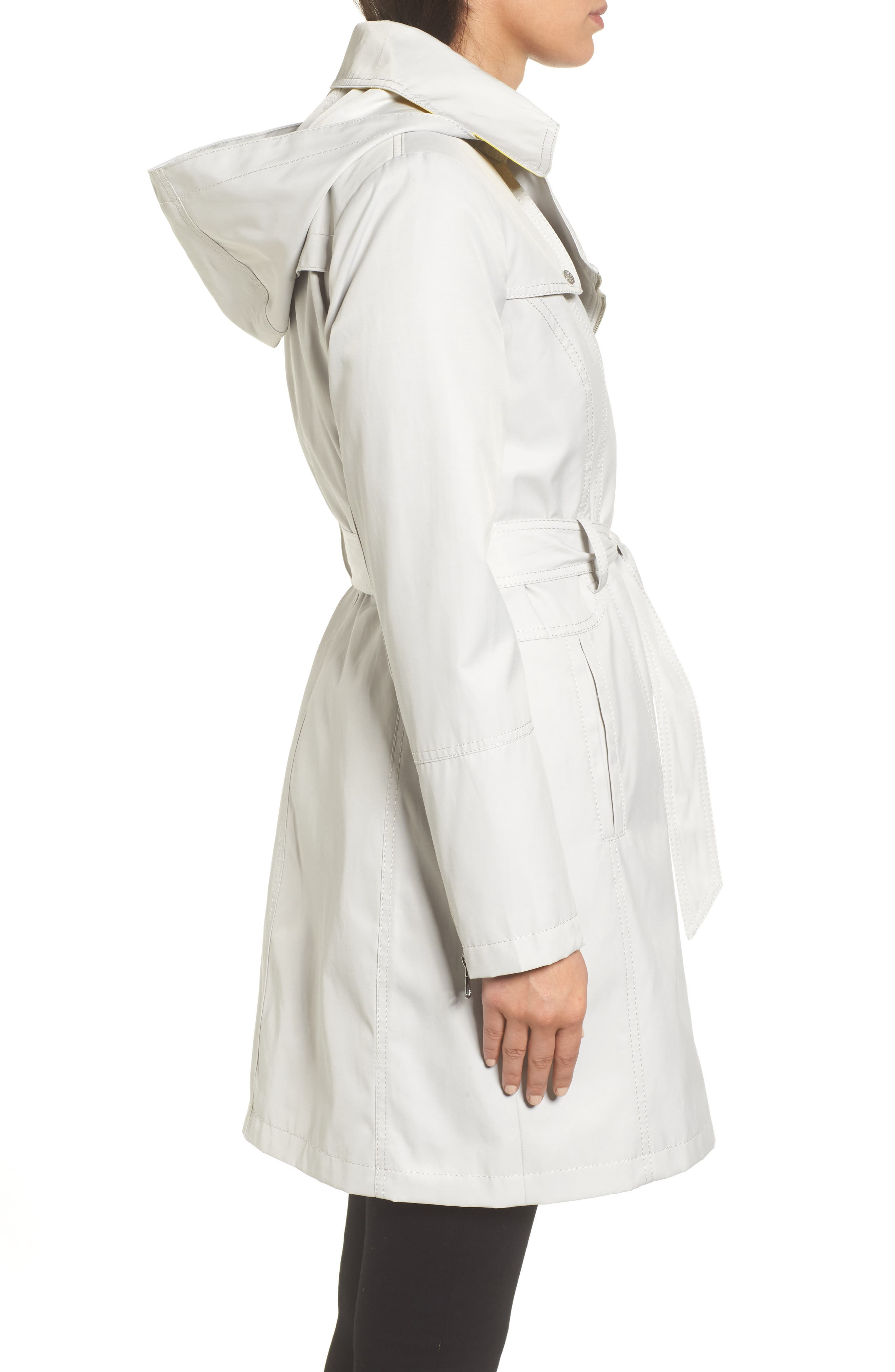 Belted Asymmetrical Trench Coat,                             Alternate thumbnail 3, color,                             Feather