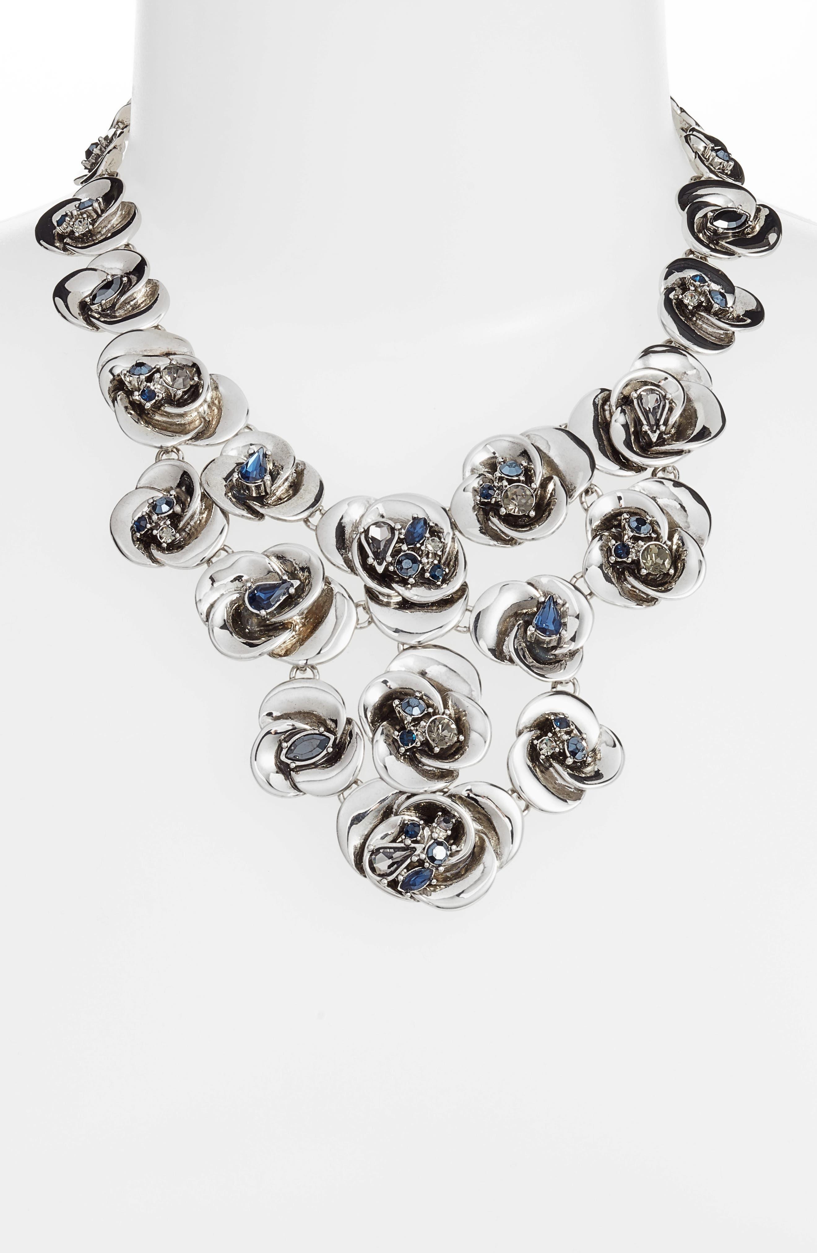 Floral Bib Necklace,                             Alternate thumbnail 2, color,                             Silver