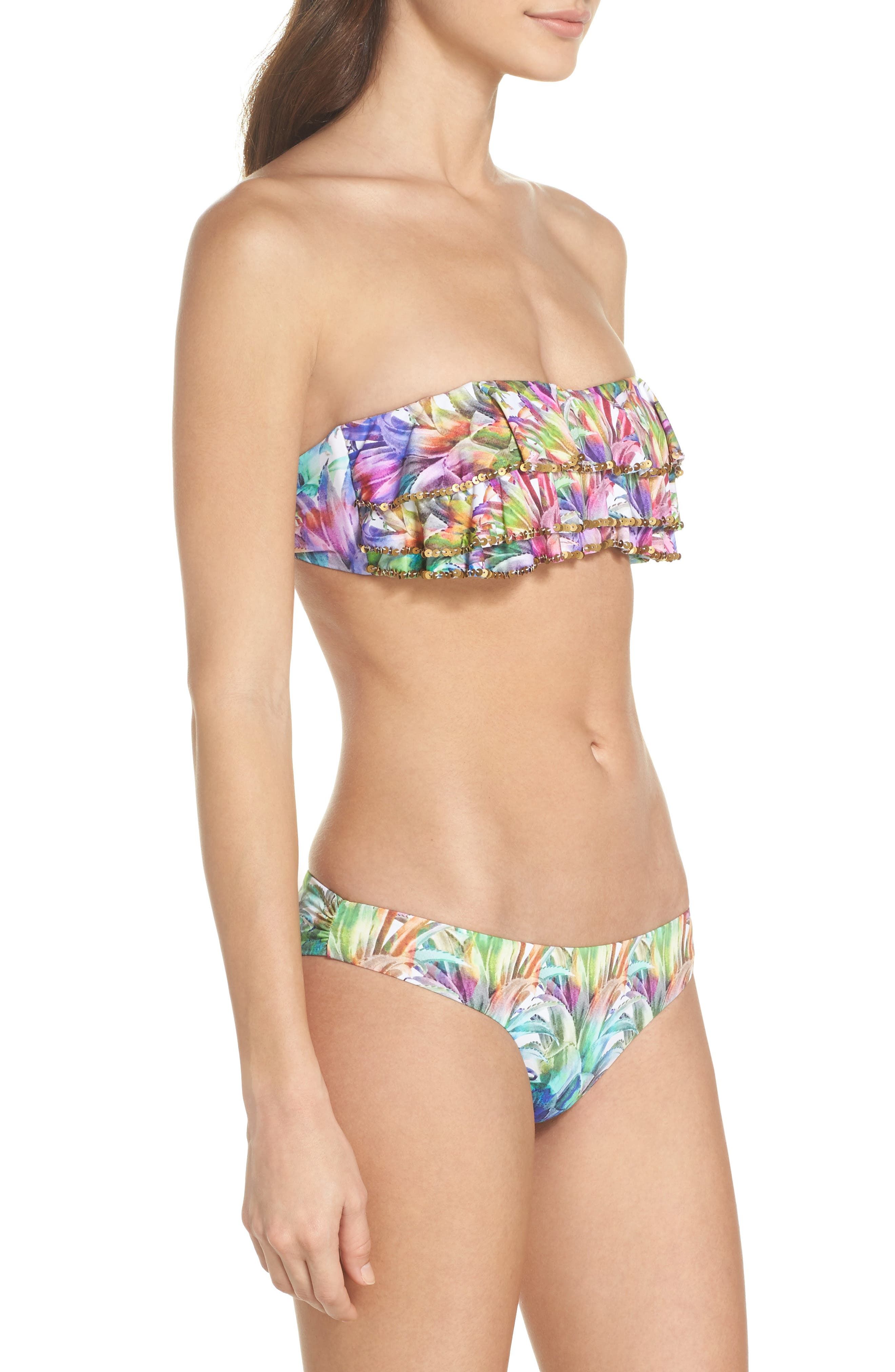 Sequin Ruffle Bandeau Bikini Top,                             Alternate thumbnail 7, color,                             Lanai