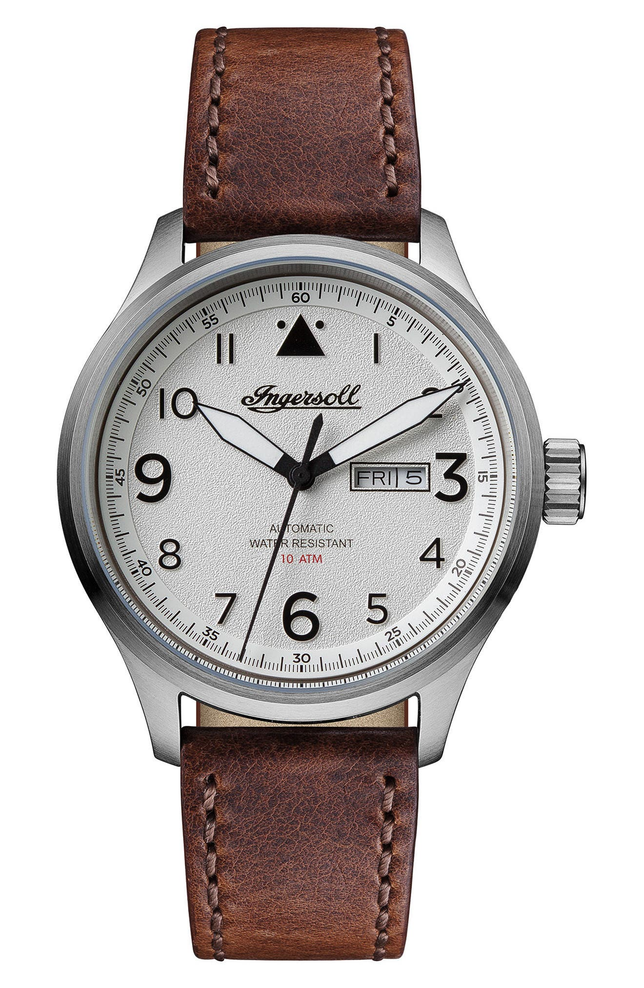 Ingersoll Bateman Automatic Leather Strap Watch, 45mm,                             Main thumbnail 1, color,                             Brown/ White/ Silver